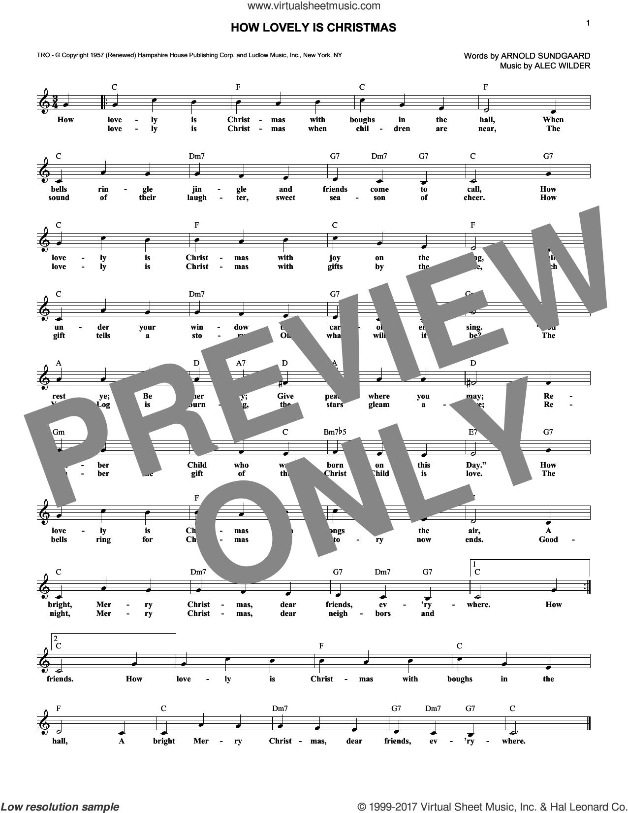 How Lovely Is Christmas sheet music for voice and other instruments (fake book) by Alec Wilder and Arnold Sundgaard, intermediate skill level