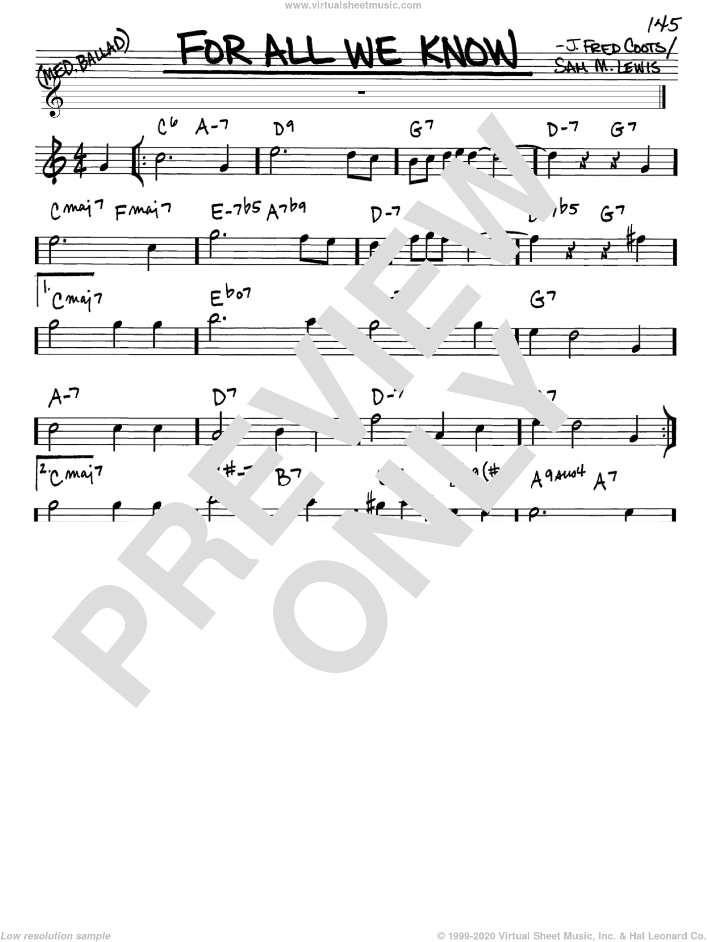 For All We Know sheet music for voice and other instruments (Eb) by J. Fred Coots and Sam Lewis, intermediate voice. Score Image Preview.
