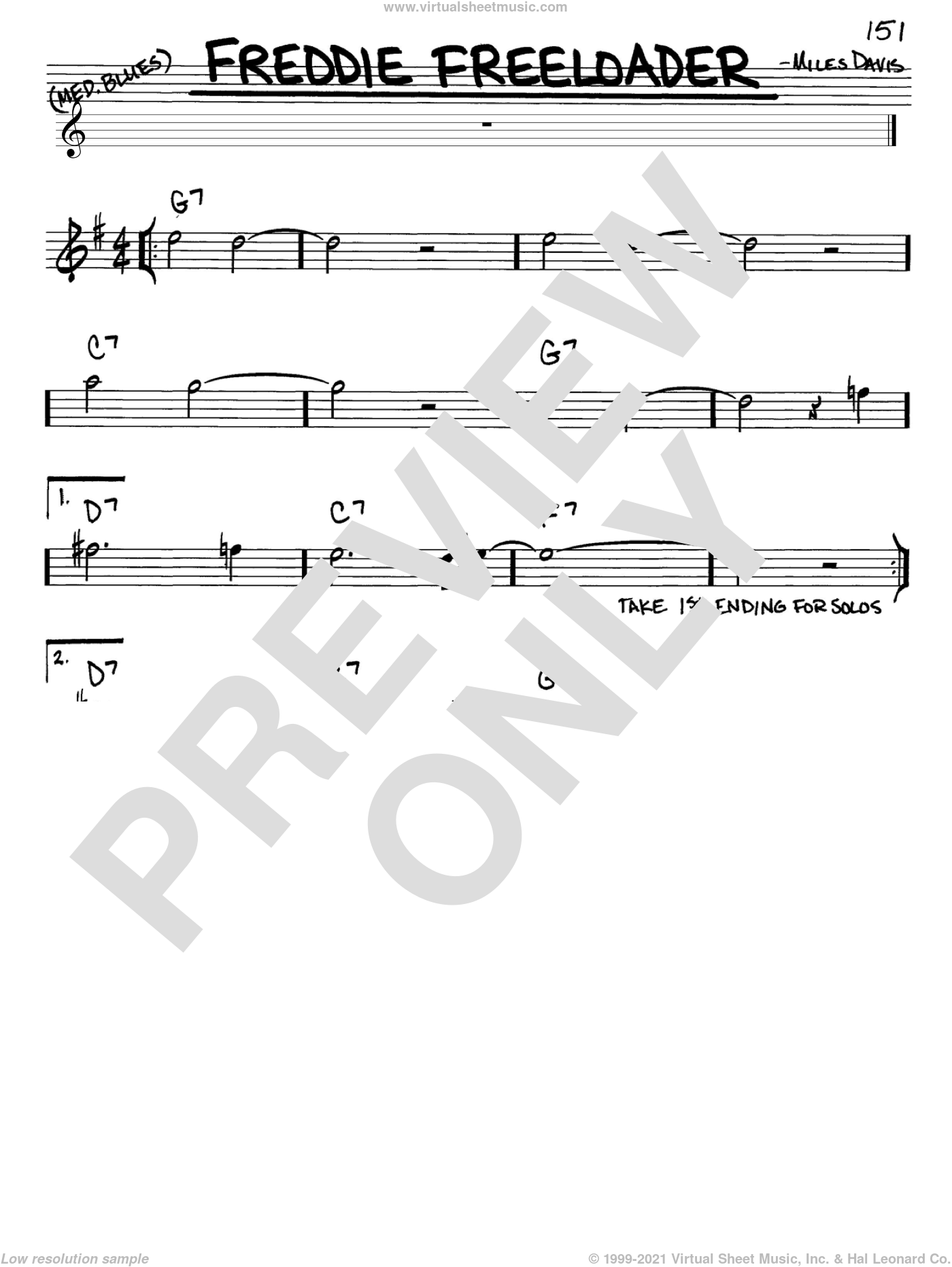 Freddie Freeloader sheet music for voice and other instruments (Eb) by Miles Davis, intermediate voice. Score Image Preview.