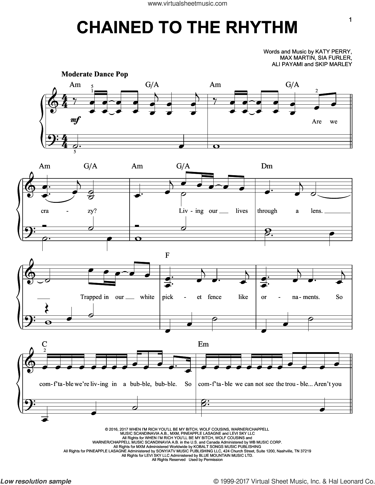 Chained To The Rhythm sheet music for piano solo by Katy Perry, Ali Payami, Max Martin, Sia Furler and Skip Marley, easy skill level