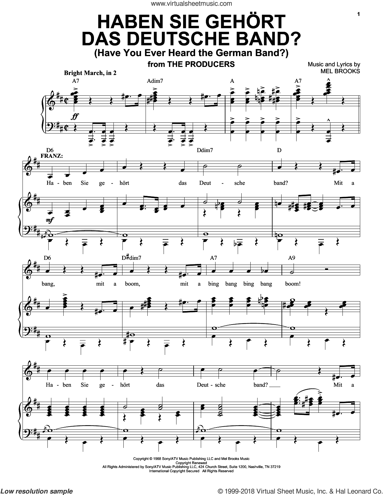 Haben Sie Gehort Das Deutsche Band? (Have You Ever Heard The German Band?) sheet music for voice and piano by Mel Brooks, intermediate skill level