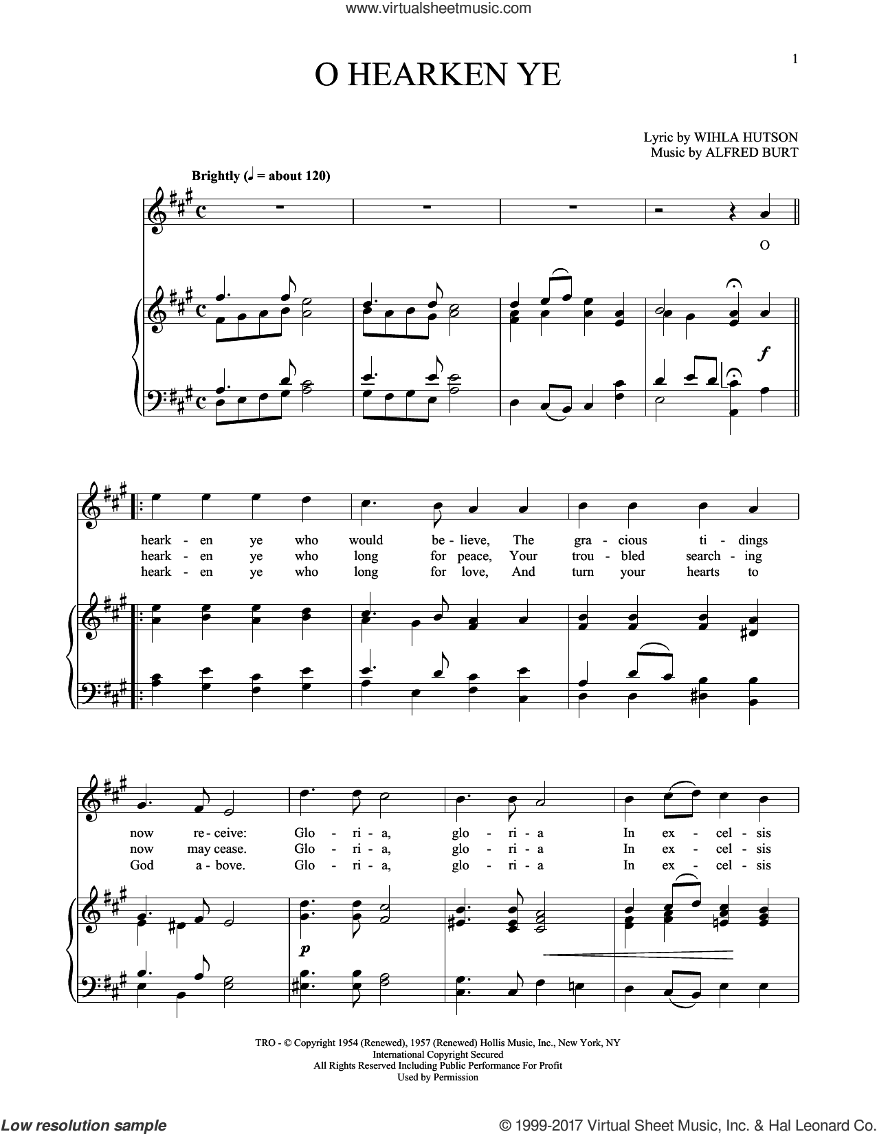 O Hearken Ye sheet music for voice and piano (High Voice) by Alfred Burt and Wihla Hutson, intermediate skill level