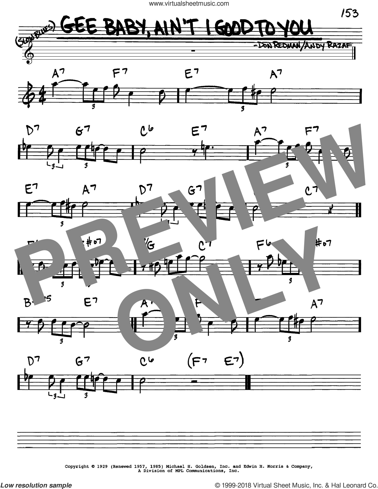 Gee Baby, Ain't I Good To You sheet music for voice and other instruments (in Eb) by Don Redman and Andy Razaf, intermediate skill level