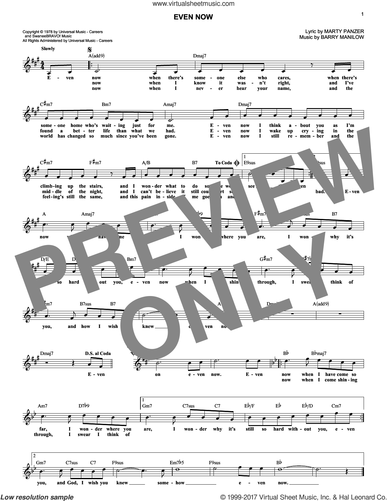 Even Now sheet music for voice and other instruments (fake book) by Barry Manilow and Marty Panzer, intermediate skill level