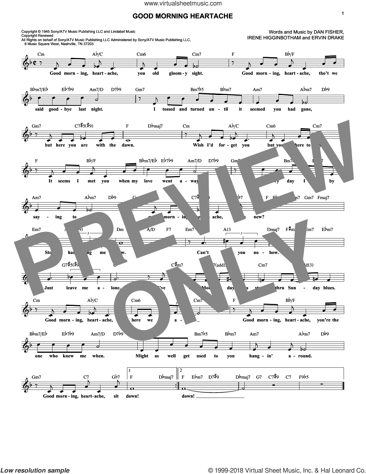Good Morning Heartache sheet music for voice and other instruments (fake book) by Billie Holiday, Diana Ross, Dan Fisher, Ervin Drake and Irene Higginbotham, intermediate skill level