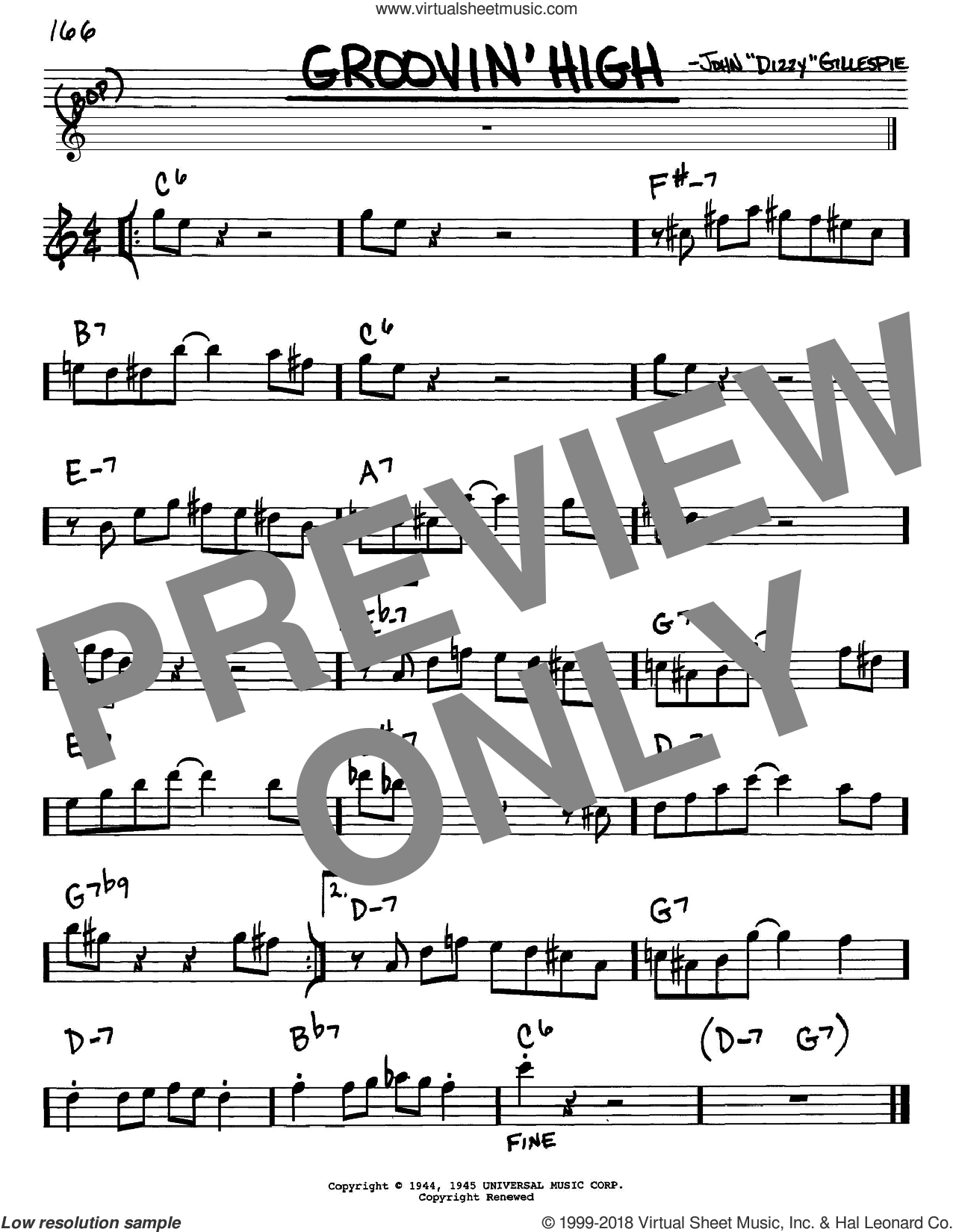 Groovin' High sheet music for voice and other instruments (in Eb) by Dizzy Gillespie and Charlie Parker, intermediate skill level