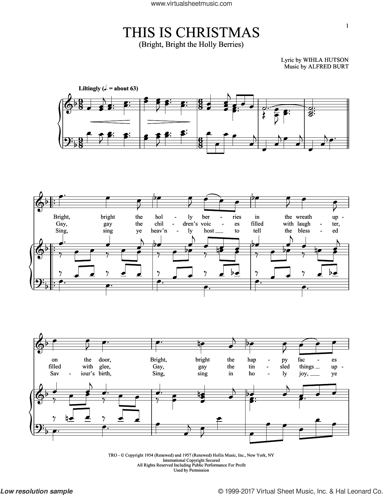 This Is Christmas (Bright, Bright The Holly Berries) sheet music for voice and piano (High Voice) by Alfred Burt and Wihla Hutson, intermediate skill level