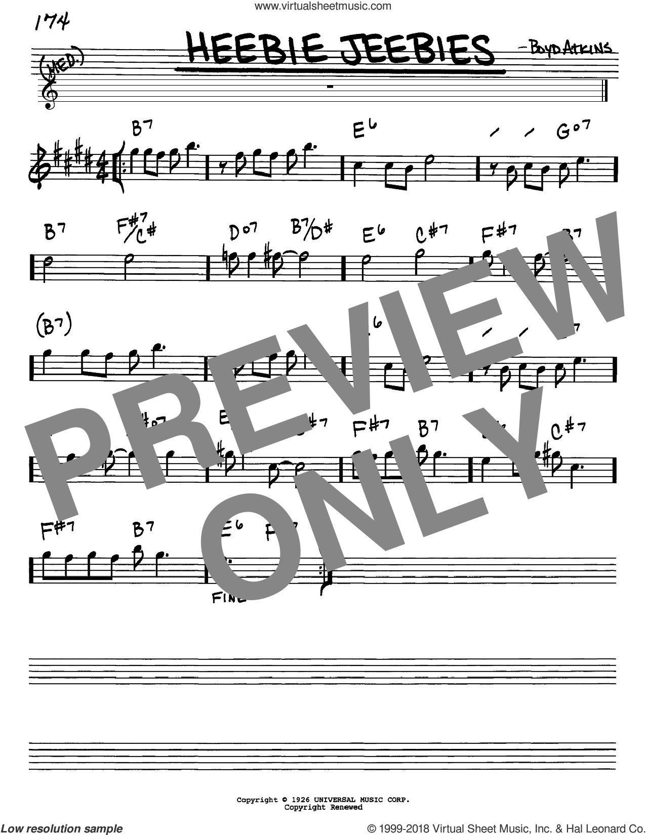 Heebie Jeebies sheet music for voice and other instruments (Eb) by Boyd Atkins and Louis Armstrong. Score Image Preview.