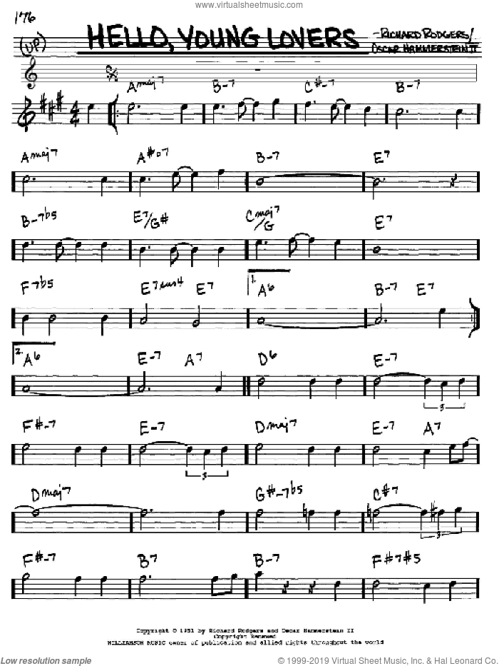 Hello, Young Lovers sheet music for voice and other instruments (in Eb) by Rodgers & Hammerstein, Oscar II Hammerstein and Richard Rodgers, intermediate skill level