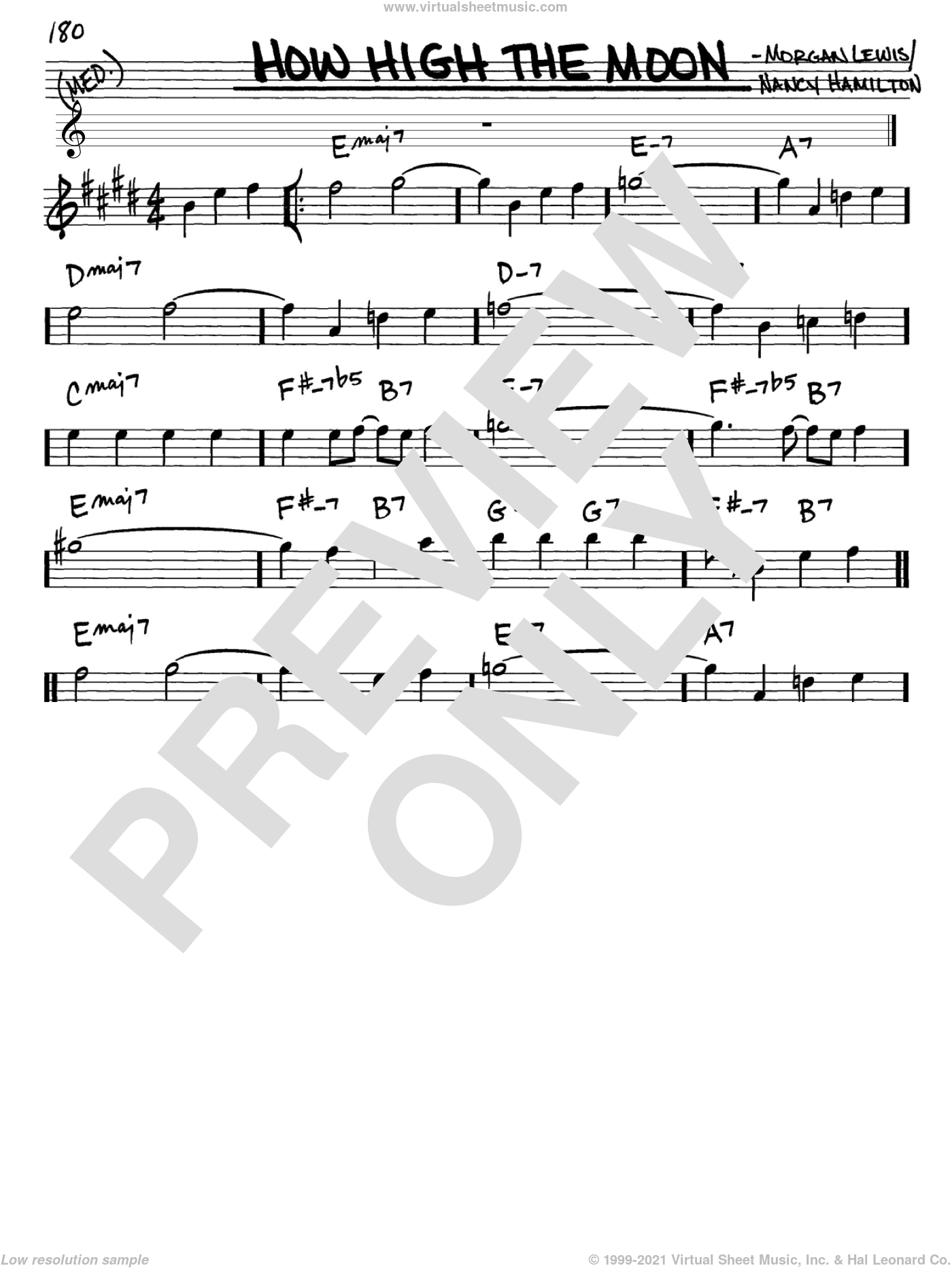 How High The Moon sheet music for voice and other instruments (Eb) by Nancy Hamilton, Les Paul and Morgan Lewis. Score Image Preview.