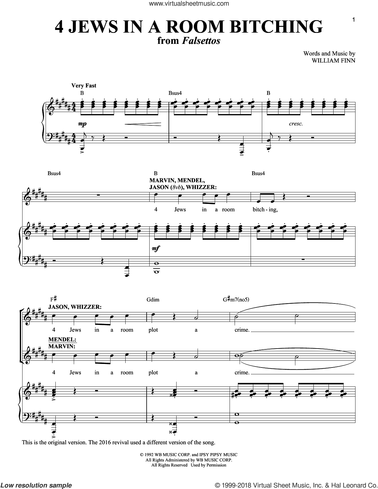 4 Jews In A Room Bitching sheet music for voice and piano by William Finn, intermediate skill level