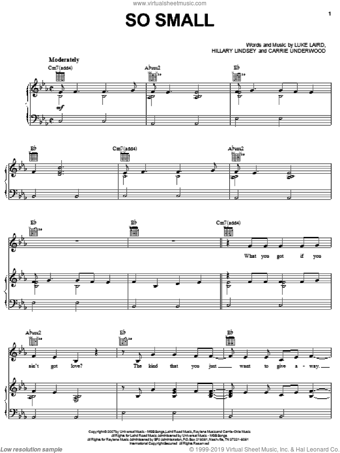 So Small sheet music for voice, piano or guitar by Carrie Underwood, Hillary Lindsey and Luke Laird, intermediate skill level