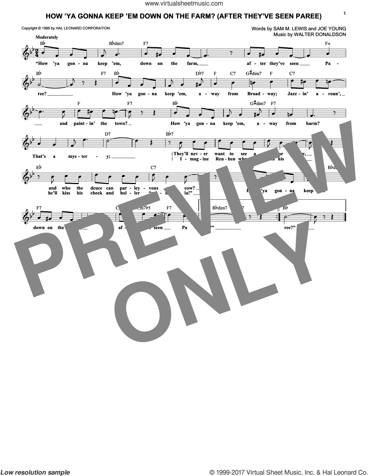 How 'Ya Gonna Keep 'em Down On The Farm? (After They've Seen Paree) sheet music for voice and other instruments (fake book) by Walter Donaldson, Nora Bayes, Joe Young and Sam Lewis, intermediate skill level