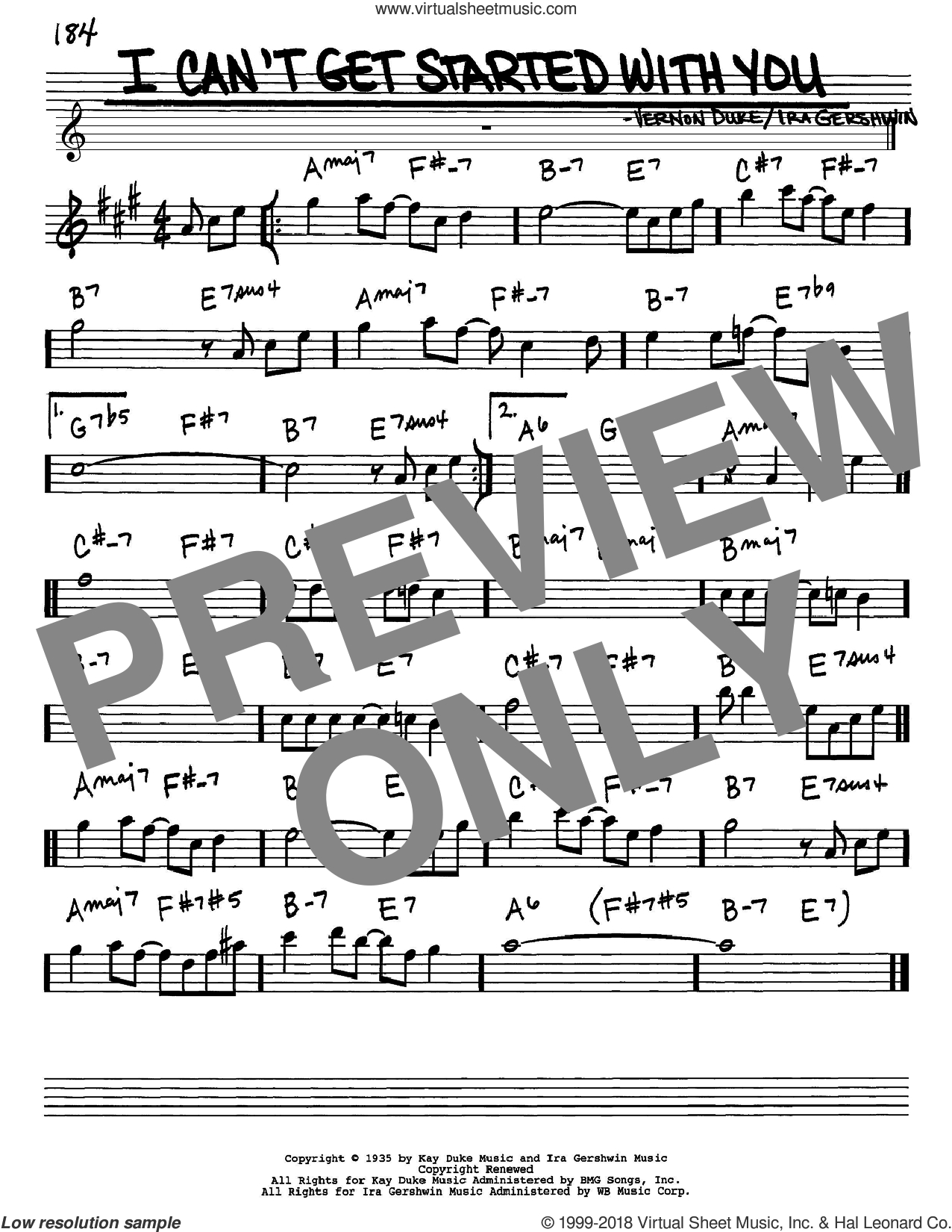 I Can't Get Started With You sheet music for voice and other instruments (in Eb) by Ira Gershwin and Vernon Duke, intermediate skill level
