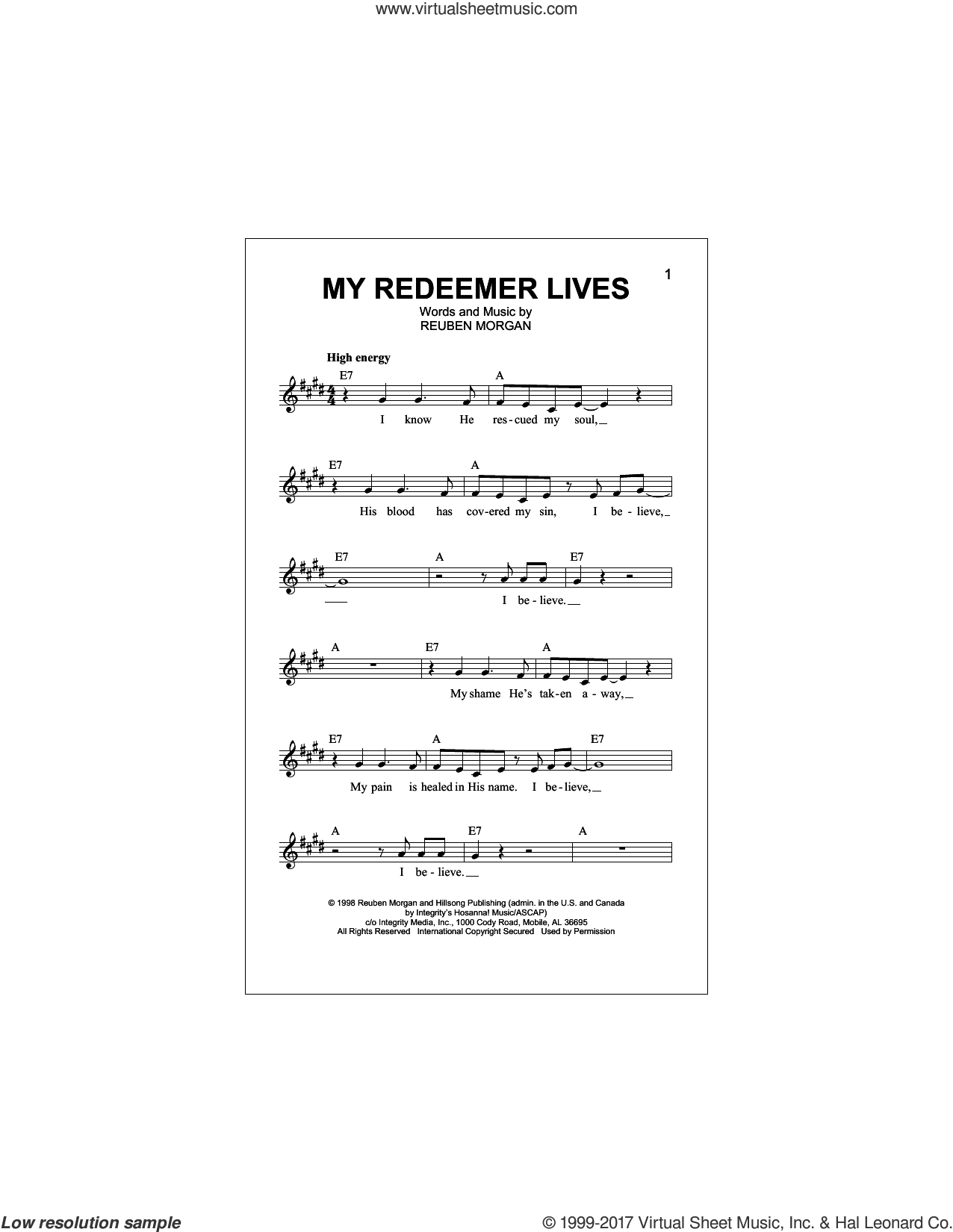 My Redeemer Lives sheet music for voice and other instruments (fake book) by Reuben Morgan, intermediate skill level