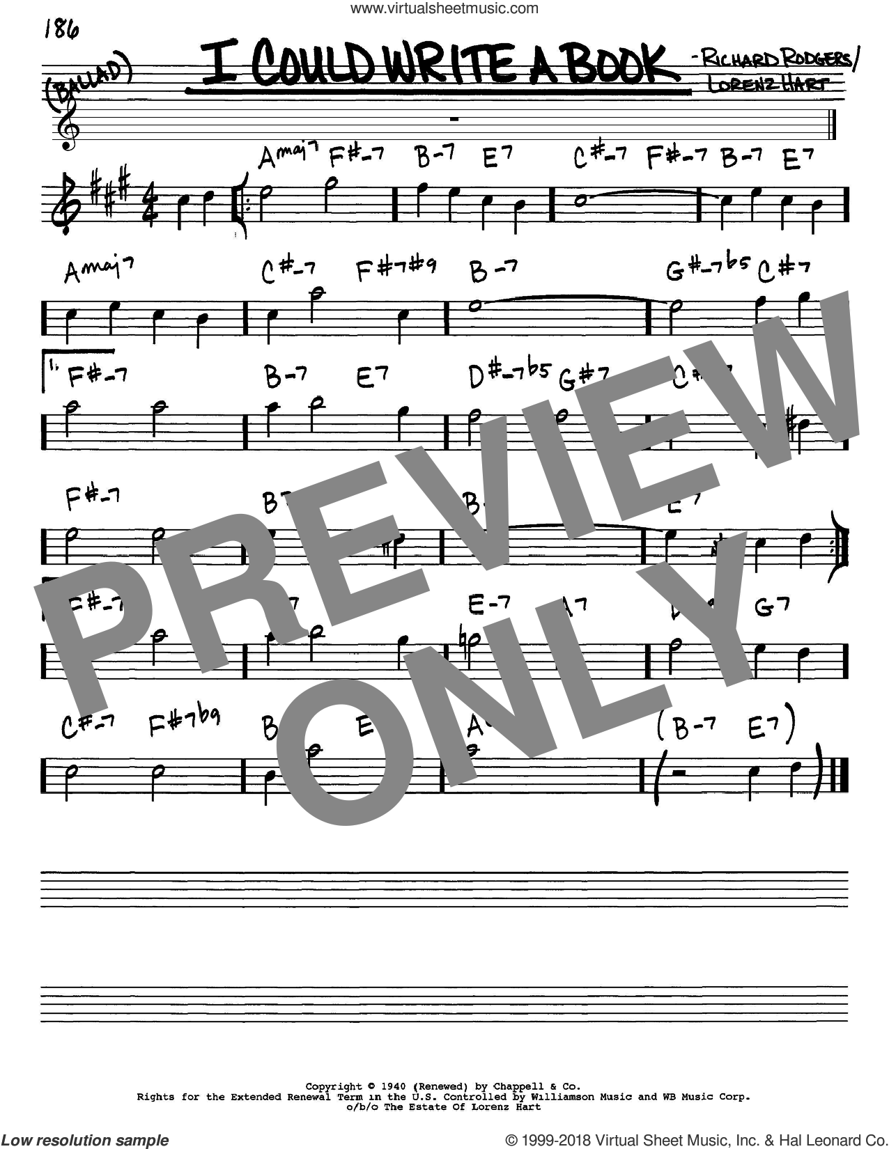 I Could Write A Book sheet music for voice and other instruments (Eb) by Richard Rodgers