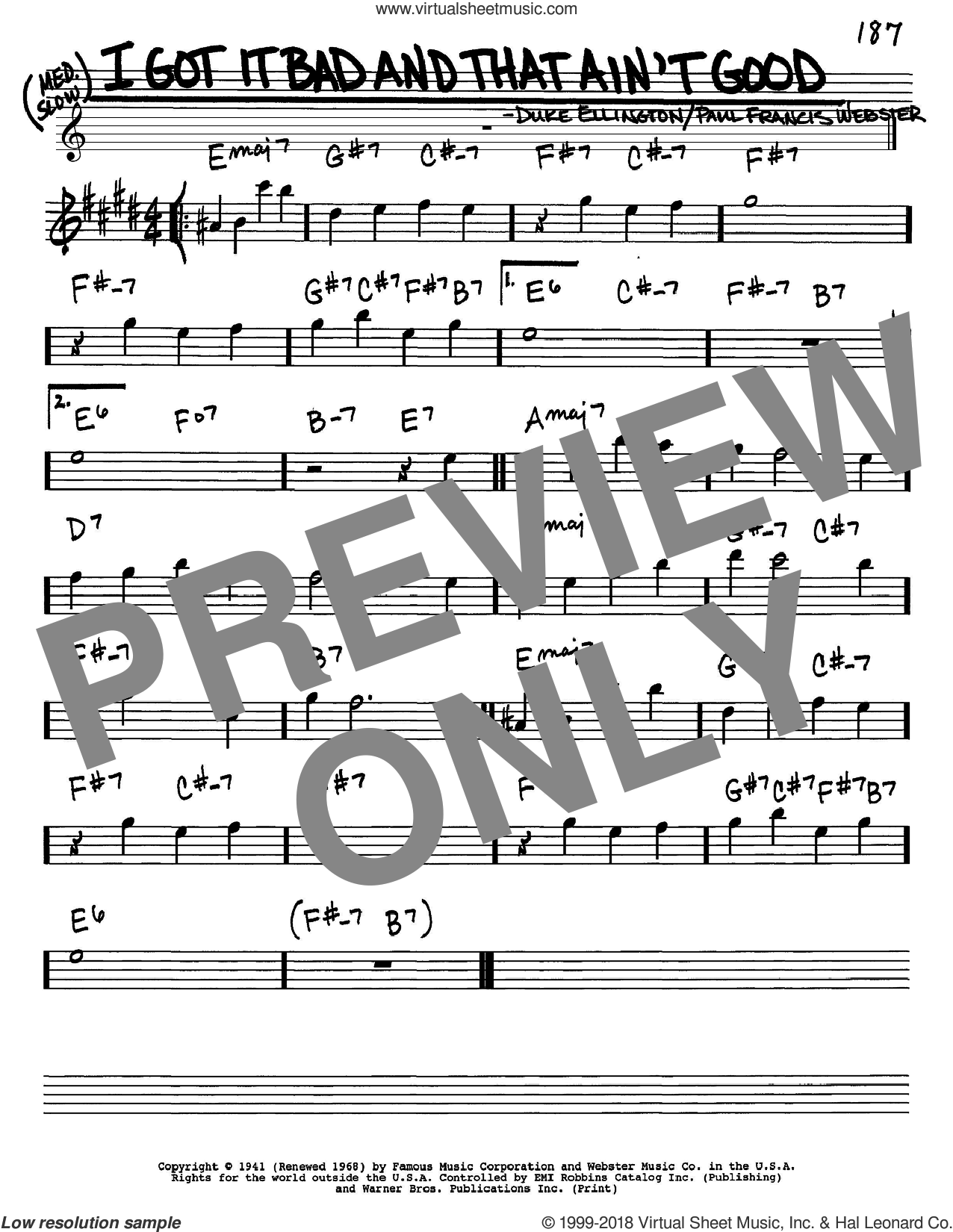 I Got It Bad And That Ain't Good sheet music for voice and other instruments (Eb) by Paul Francis Webster and Duke Ellington. Score Image Preview.