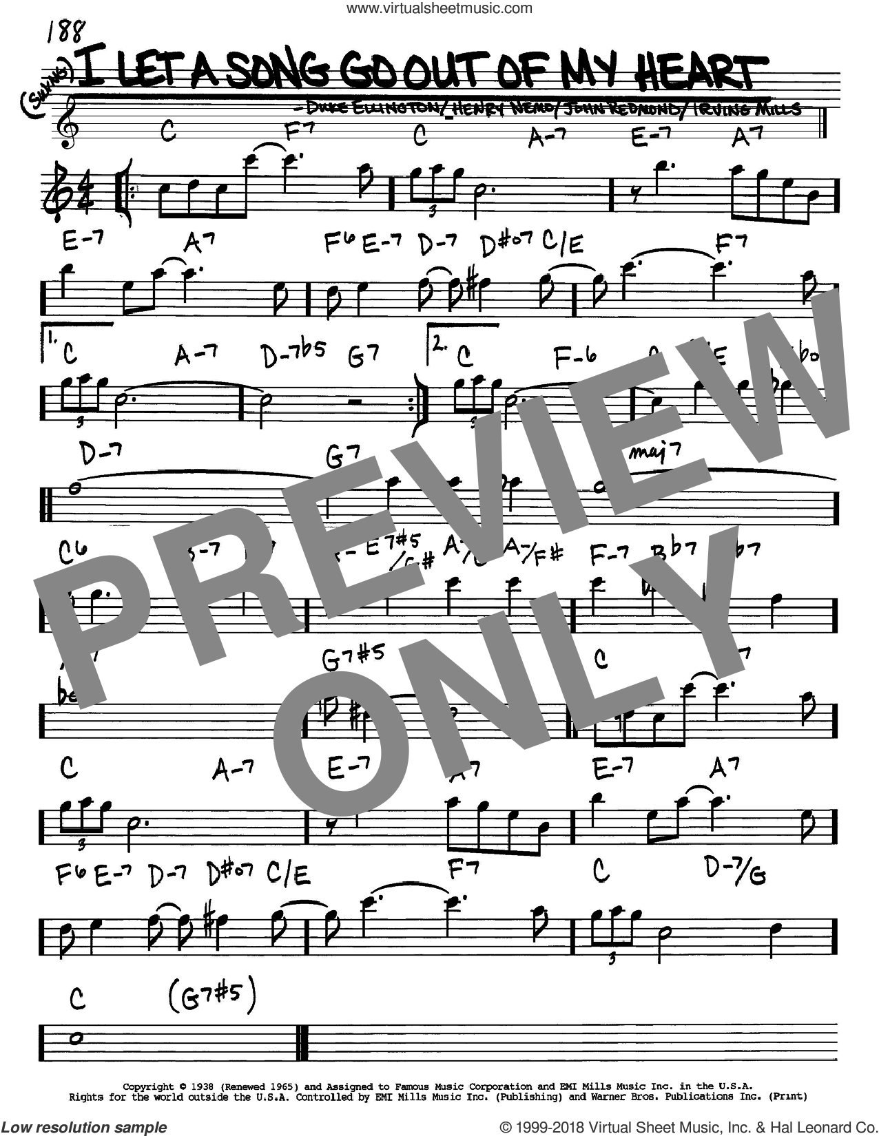 I Let A Song Go Out Of My Heart sheet music for voice and other instruments (Eb) by John Redmond, Duke Ellington, Henry Nemo and Irving Mills. Score Image Preview.