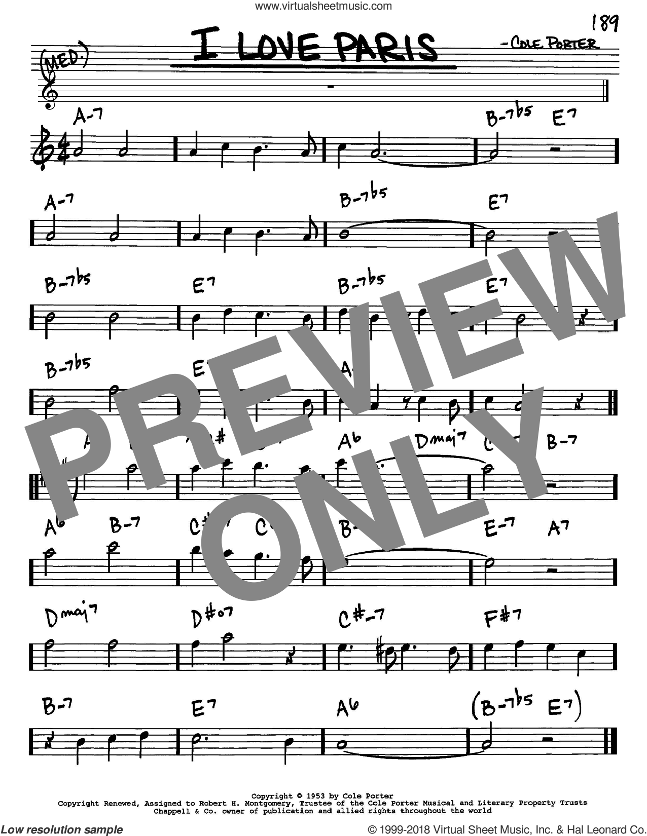 I Love Paris sheet music for voice and other instruments (Eb) by Cole Porter. Score Image Preview.