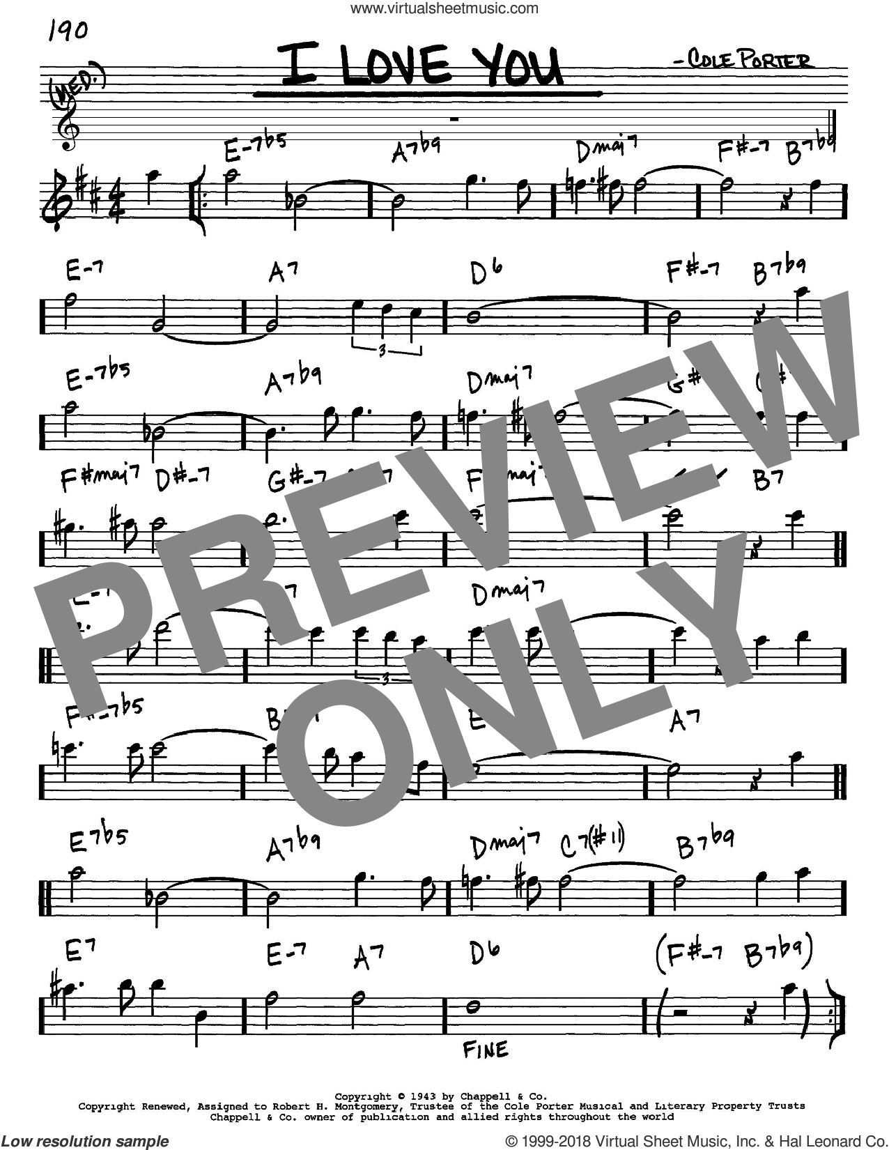I Love You sheet music for voice and other instruments (in Eb) by Cole Porter, intermediate