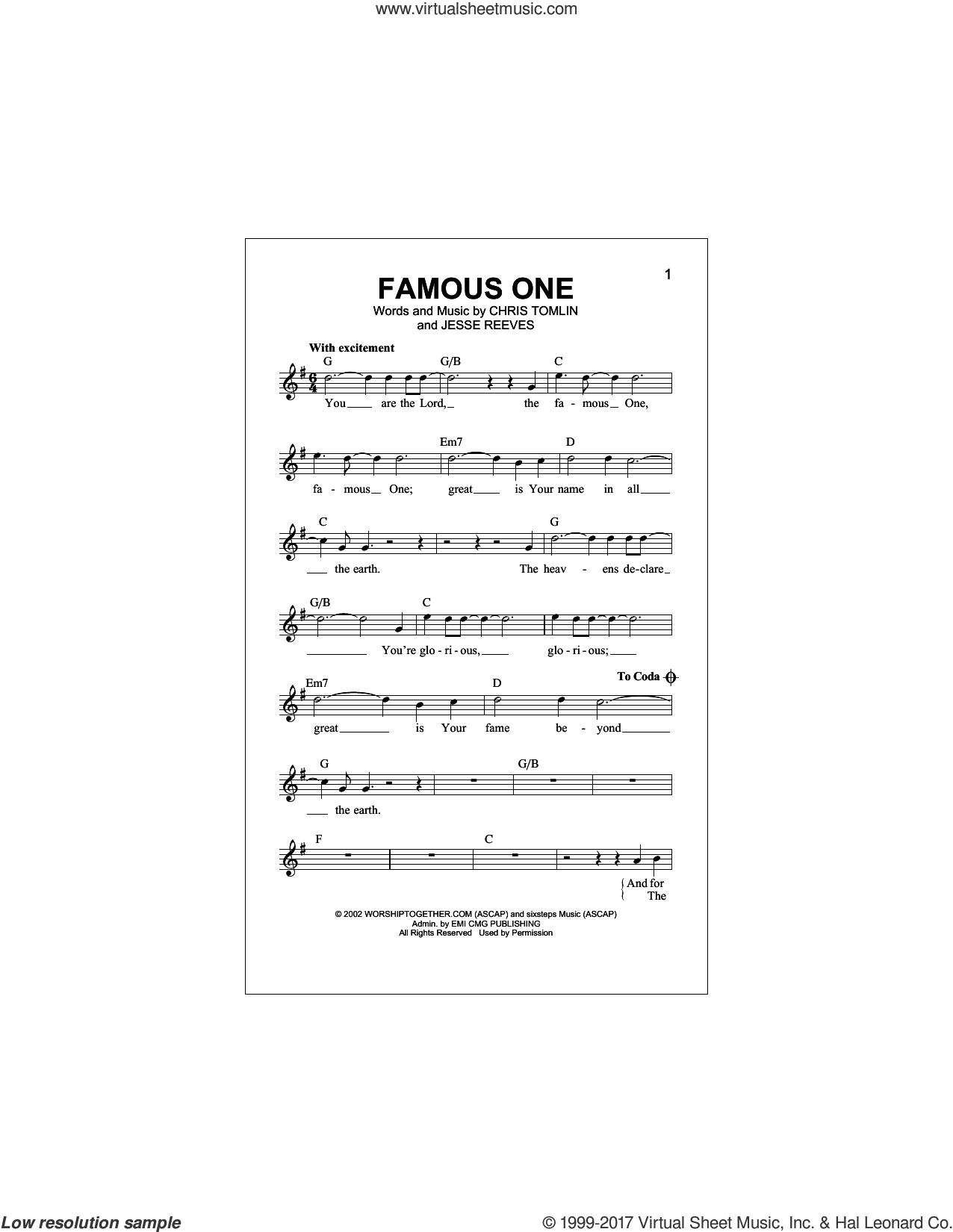 Famous One sheet music for voice and other instruments (fake book) by Chris Tomlin and Jesse Reeves, intermediate skill level