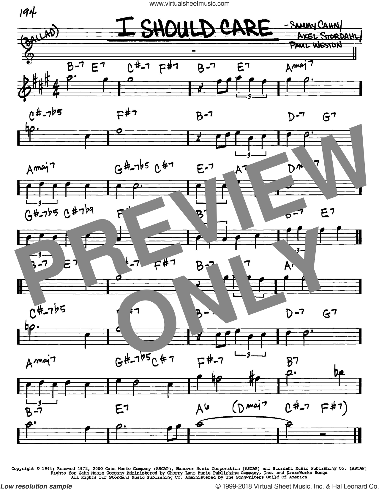 I Should Care sheet music for voice and other instruments (Eb) by Paul Weston, Axel Stordahl and Sammy Cahn. Score Image Preview.