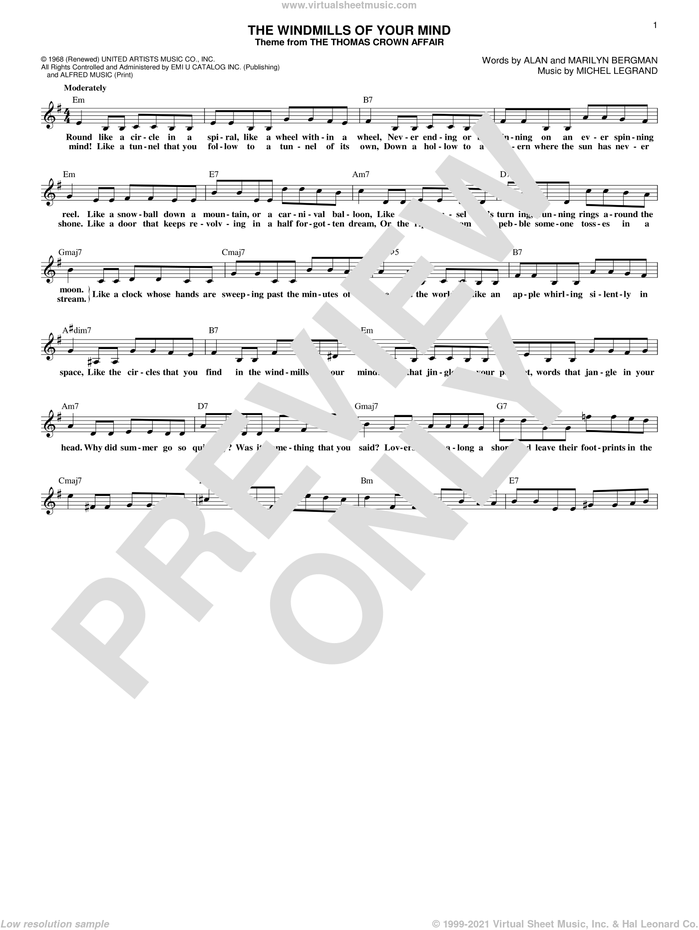 The Windmills Of Your Mind sheet music for voice and other instruments (fake book) by Michel Legrand, Alan Bergman and Marilyn Bergman, intermediate skill level
