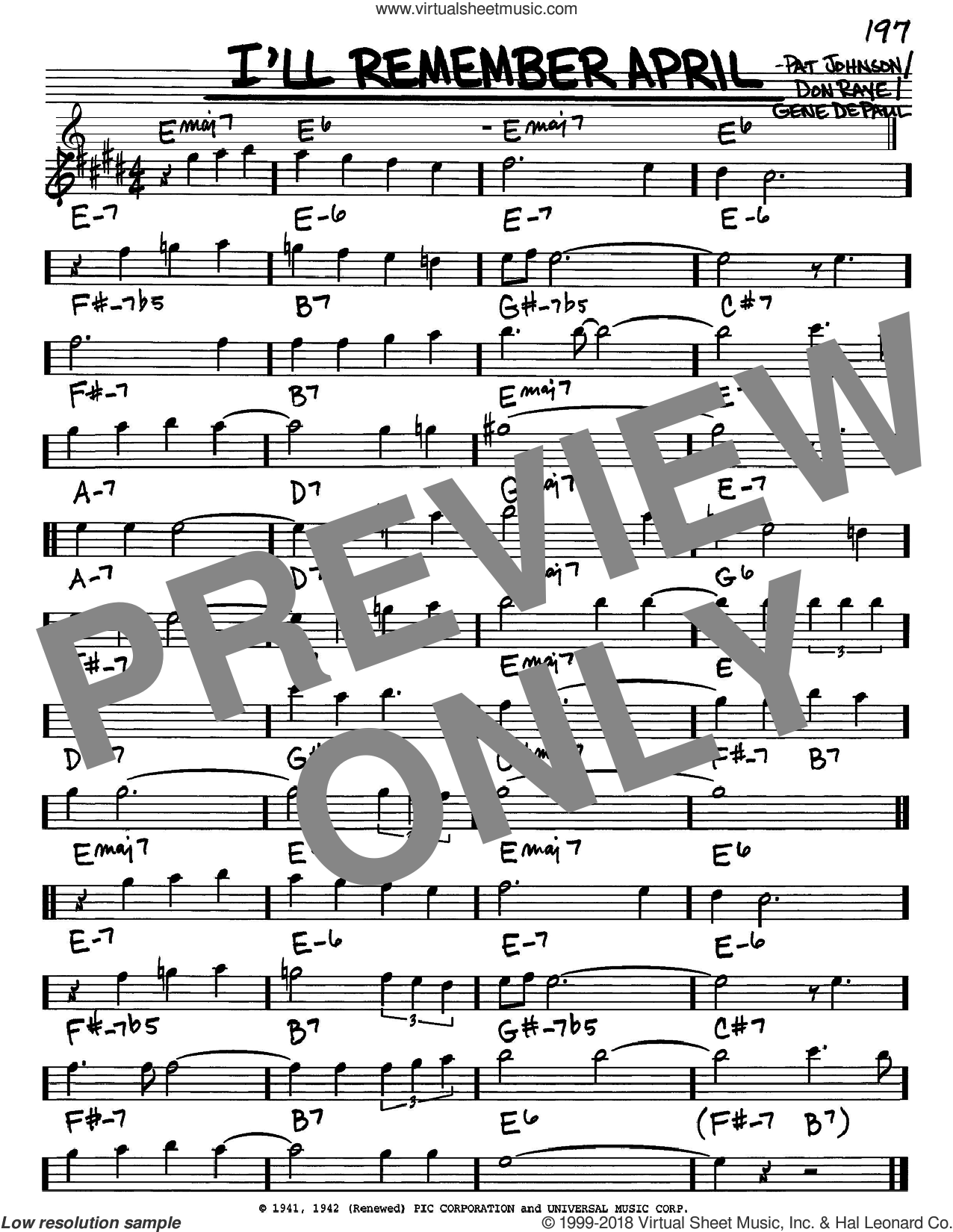 I'll Remember April sheet music for voice and other instruments (Eb) by Pat Johnson, Woody Herman, Don Raye and Gene DePaul