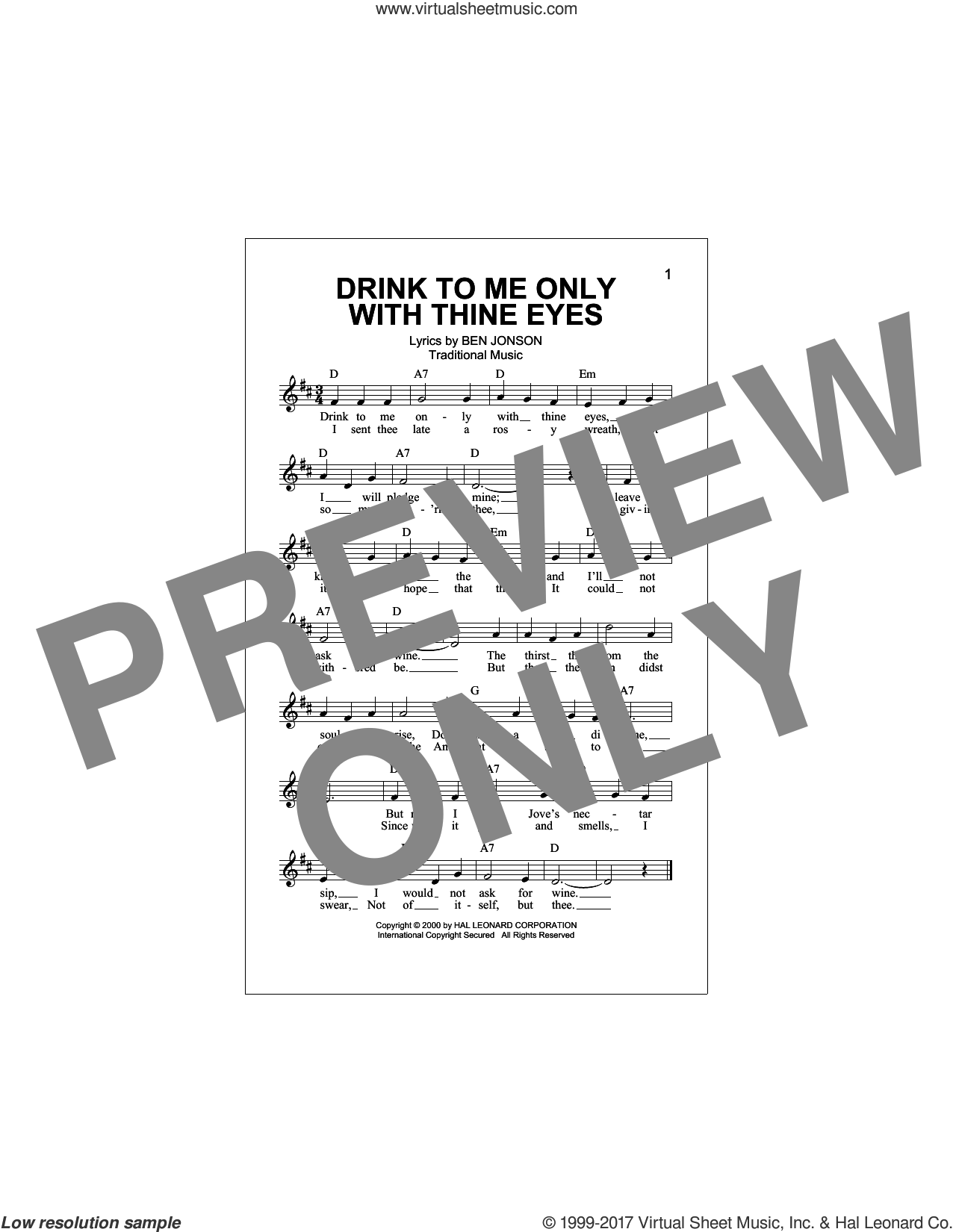 Drink To Me Only With Thine Eyes sheet music for voice and other instruments (fake book) by Traditional Music and Ben Jonson, intermediate skill level