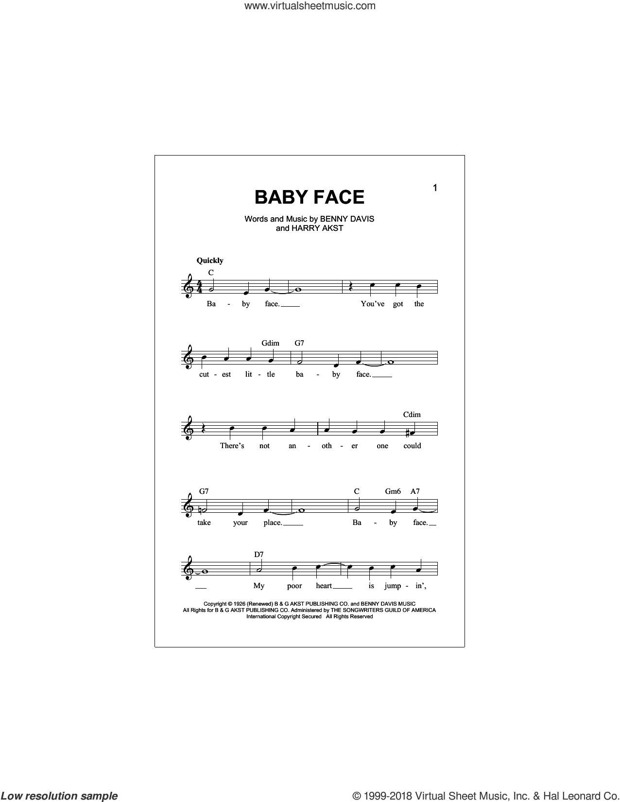 Baby Face sheet music for voice and other instruments (fake book) by Harry Akst, Bobby Darin, Little Richard and Benny Davis, intermediate skill level