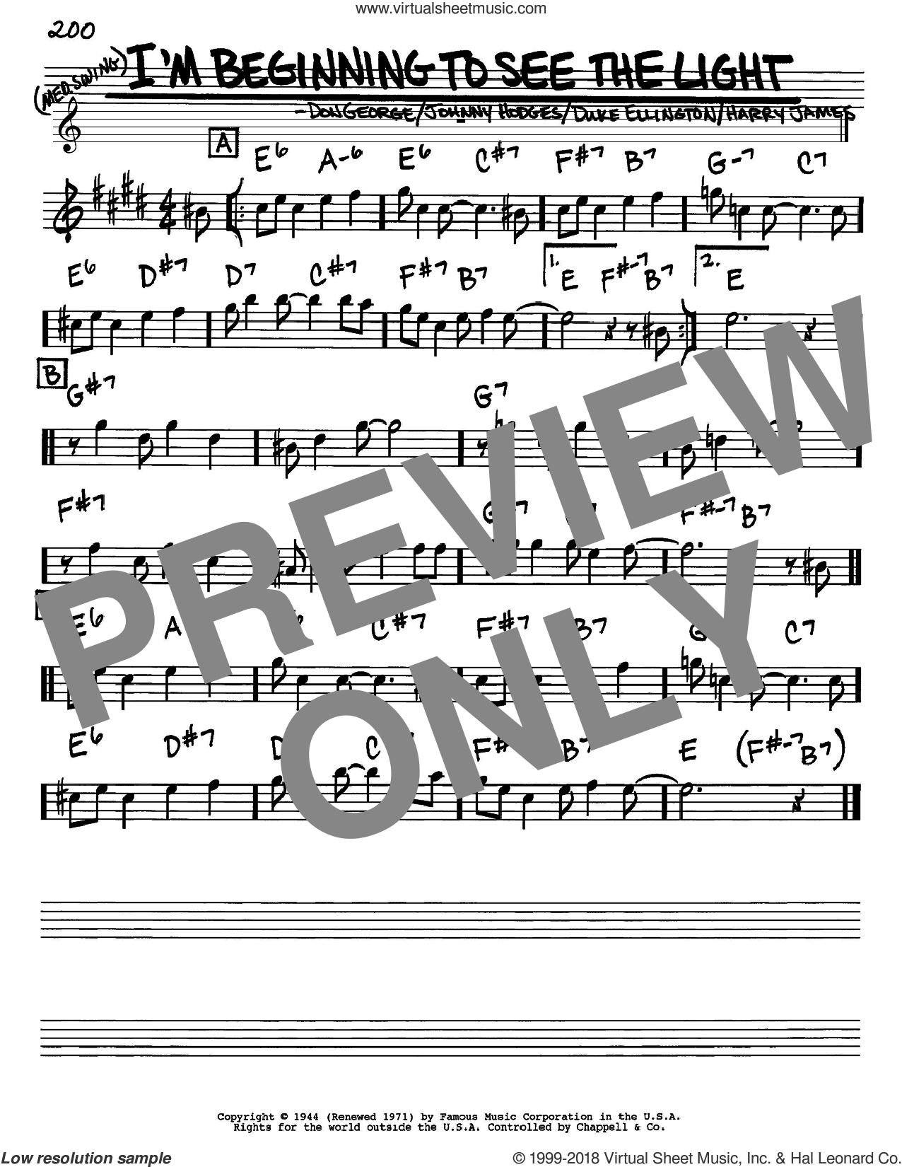 I'm Beginning To See The Light sheet music for voice and other instruments (Eb) by Duke Ellington, Don George, Harry James and Johnny Hodges. Score Image Preview.