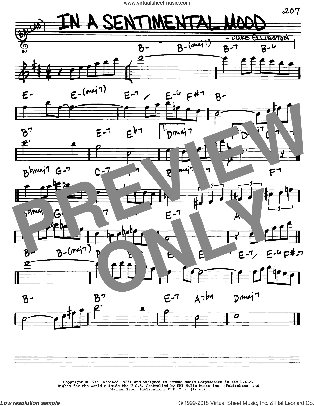 In A Sentimental Mood sheet music for voice and other instruments (Eb) by Manny Kurtz, Duke Ellington and Irving Mills. Score Image Preview.