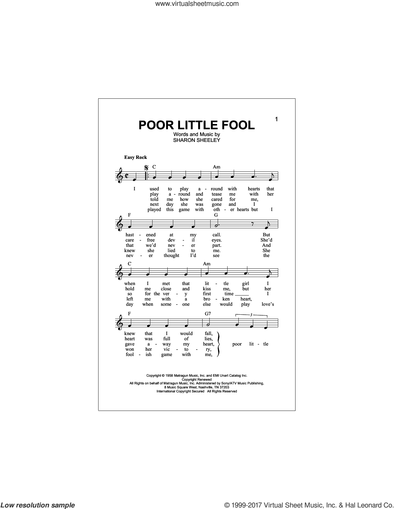Poor Little Fool sheet music for voice and other instruments (fake book) by Ricky Nelson and Sharon Sheeley, intermediate skill level
