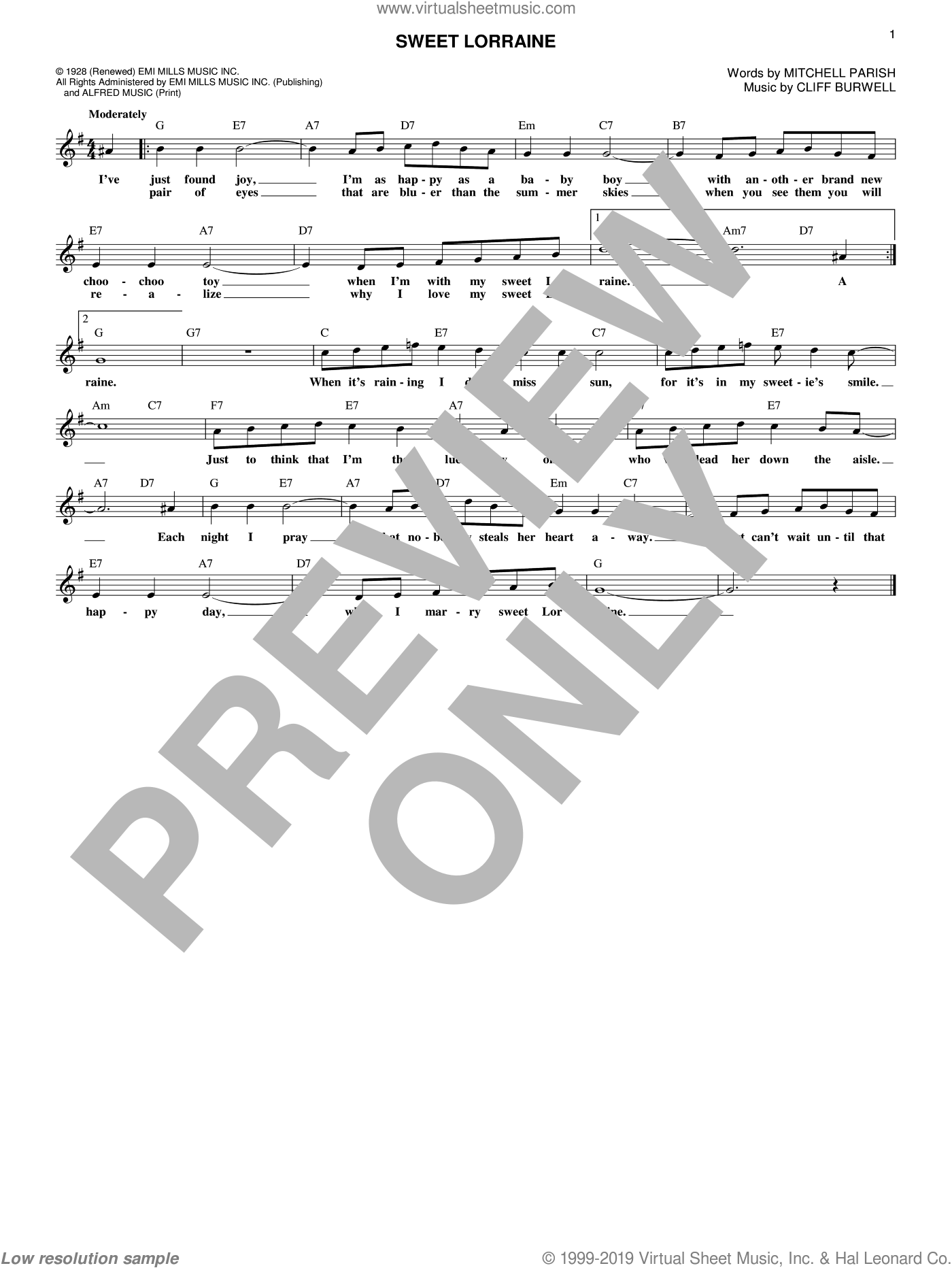 Sweet Lorraine sheet music for voice and other instruments (fake book) by Cliff Burwell and Mitchell Parish, intermediate skill level