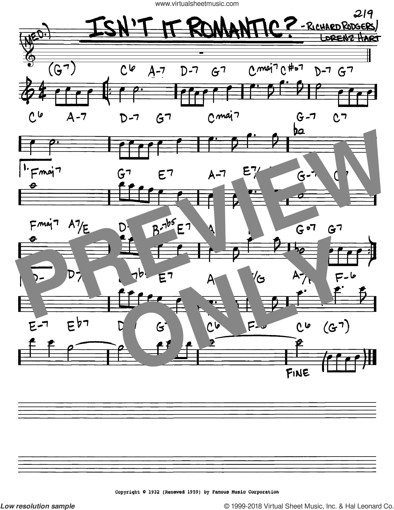 Isn't It Romantic? sheet music for voice and other instruments (Eb) by Richard Rodgers