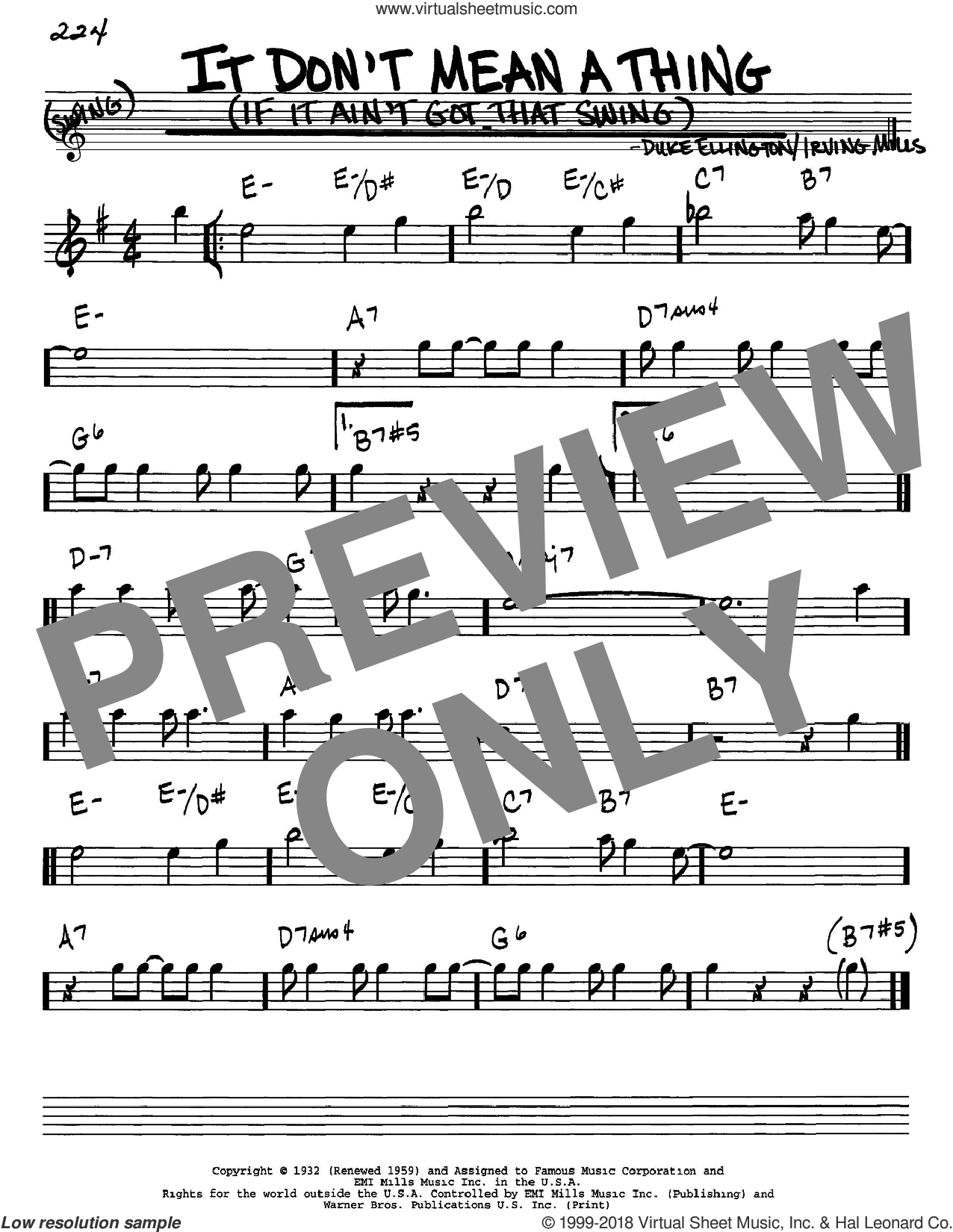 It Don't Mean A Thing (If It Ain't Got That Swing) sheet music for voice and other instruments (Eb) by Irving Mills