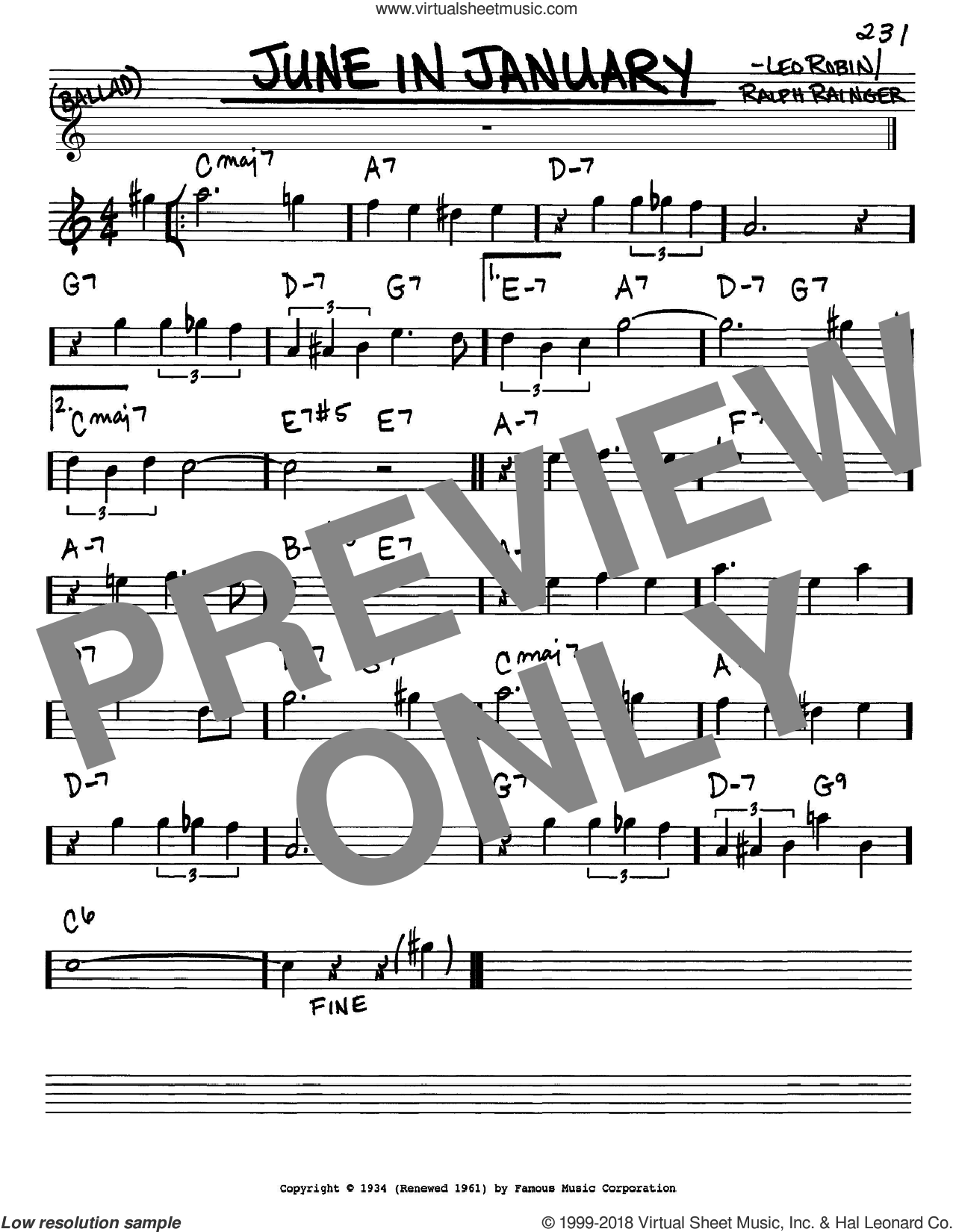 June In January sheet music for voice and other instruments (Eb) by Ralph Rainger and Leo Robin. Score Image Preview.