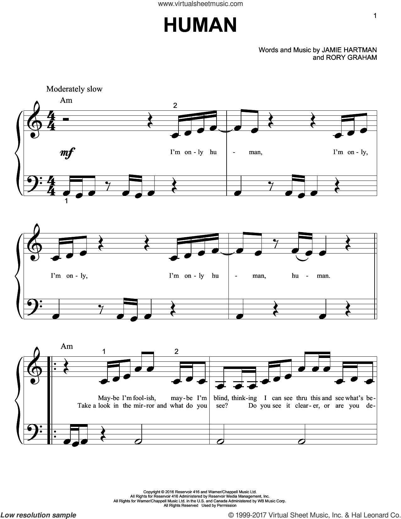 Human sheet music for piano solo (big note book) by Rag'n'Bone Man, Jamie Hartman and Rory Graham, easy piano (big note book)