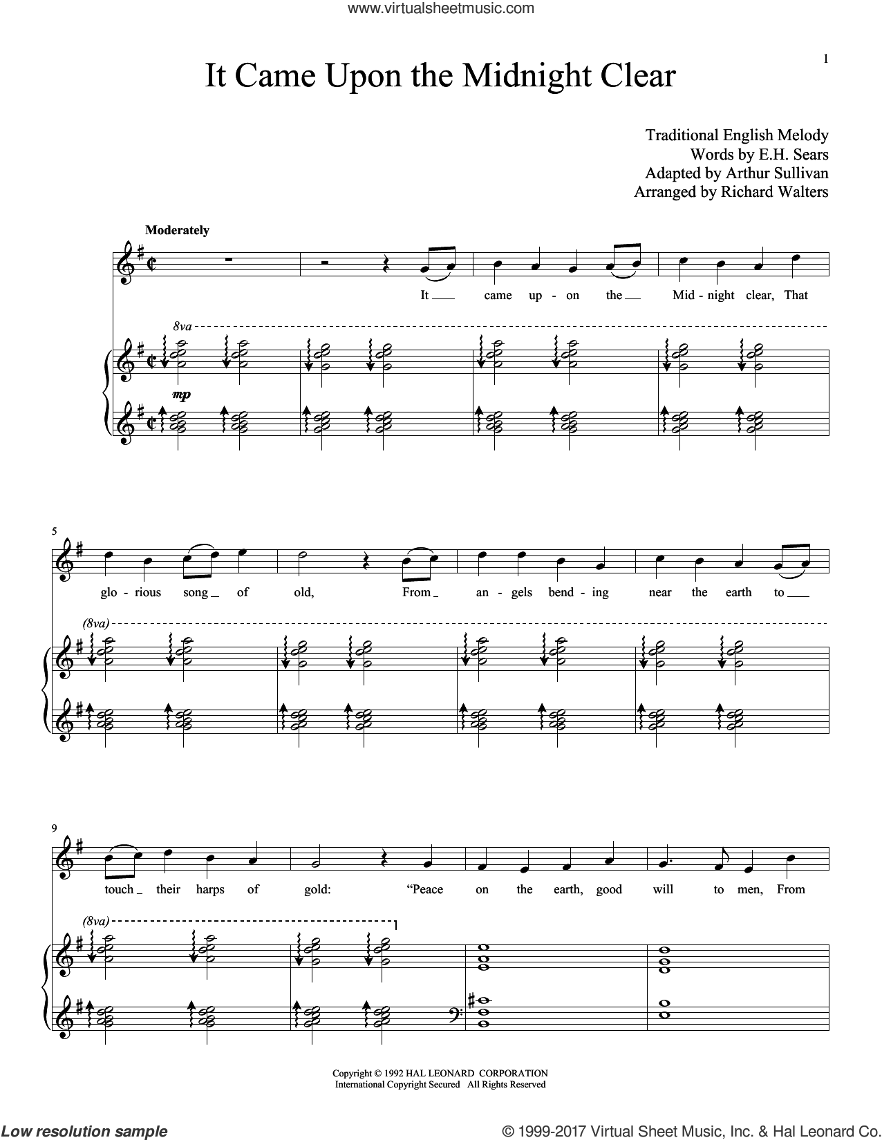 It Came Upon The Midnight Clear sheet music for voice and piano (High Voice) by Edmund Hamilton Sears, Miscellaneous and Arthur Sullivan (adapted), intermediate skill level