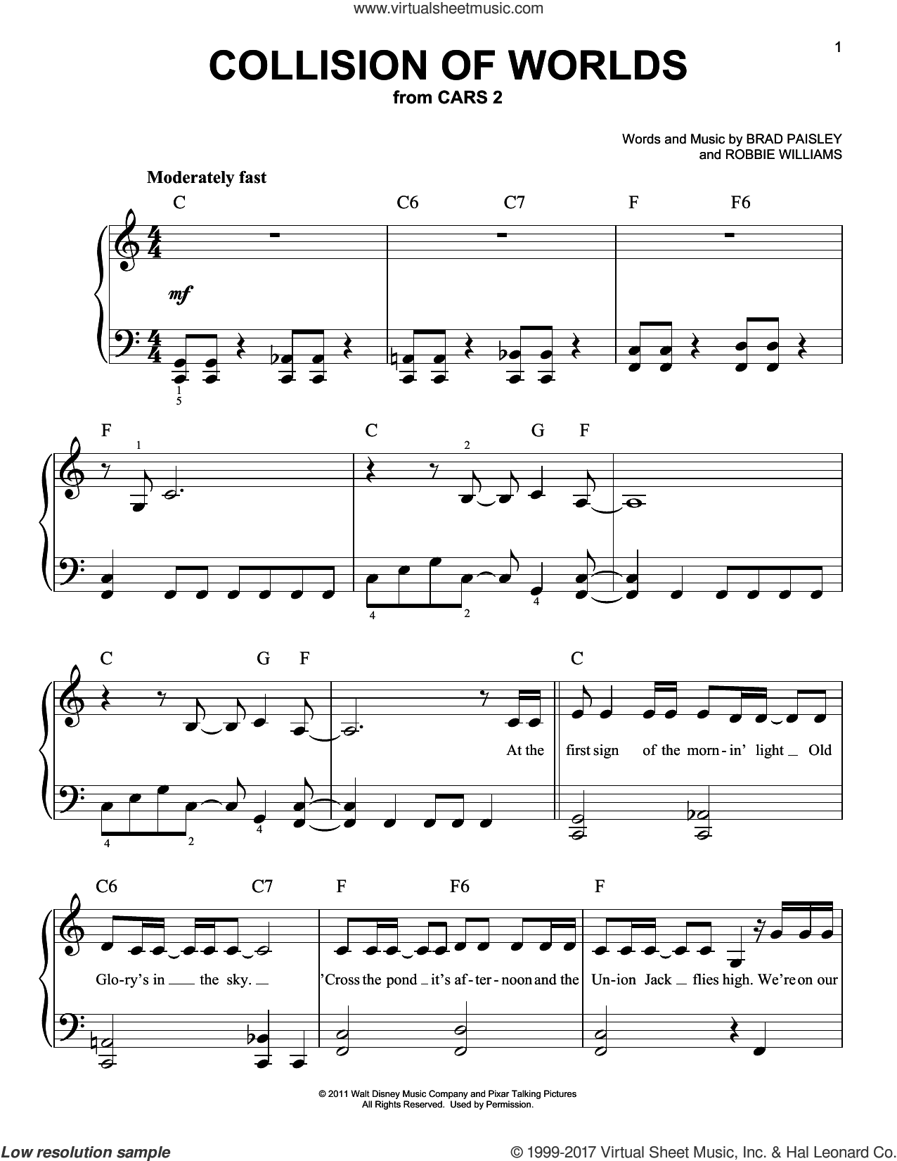Collision Of Worlds sheet music for piano solo by Brad Paisley and Robbie Williams, easy skill level
