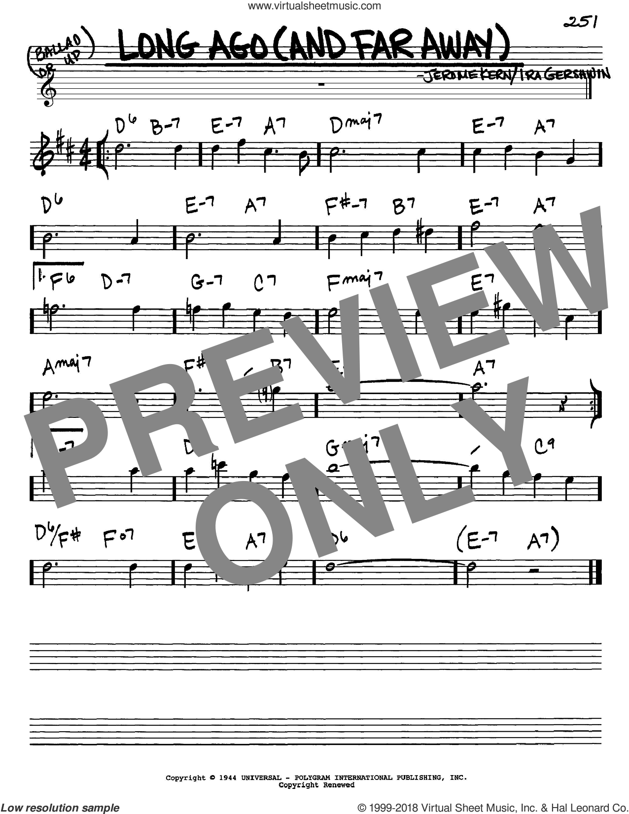 Long Ago (And Far Away) sheet music for voice and other instruments (in Eb) by Jerome Kern and Ira Gershwin, intermediate. Score Image Preview.