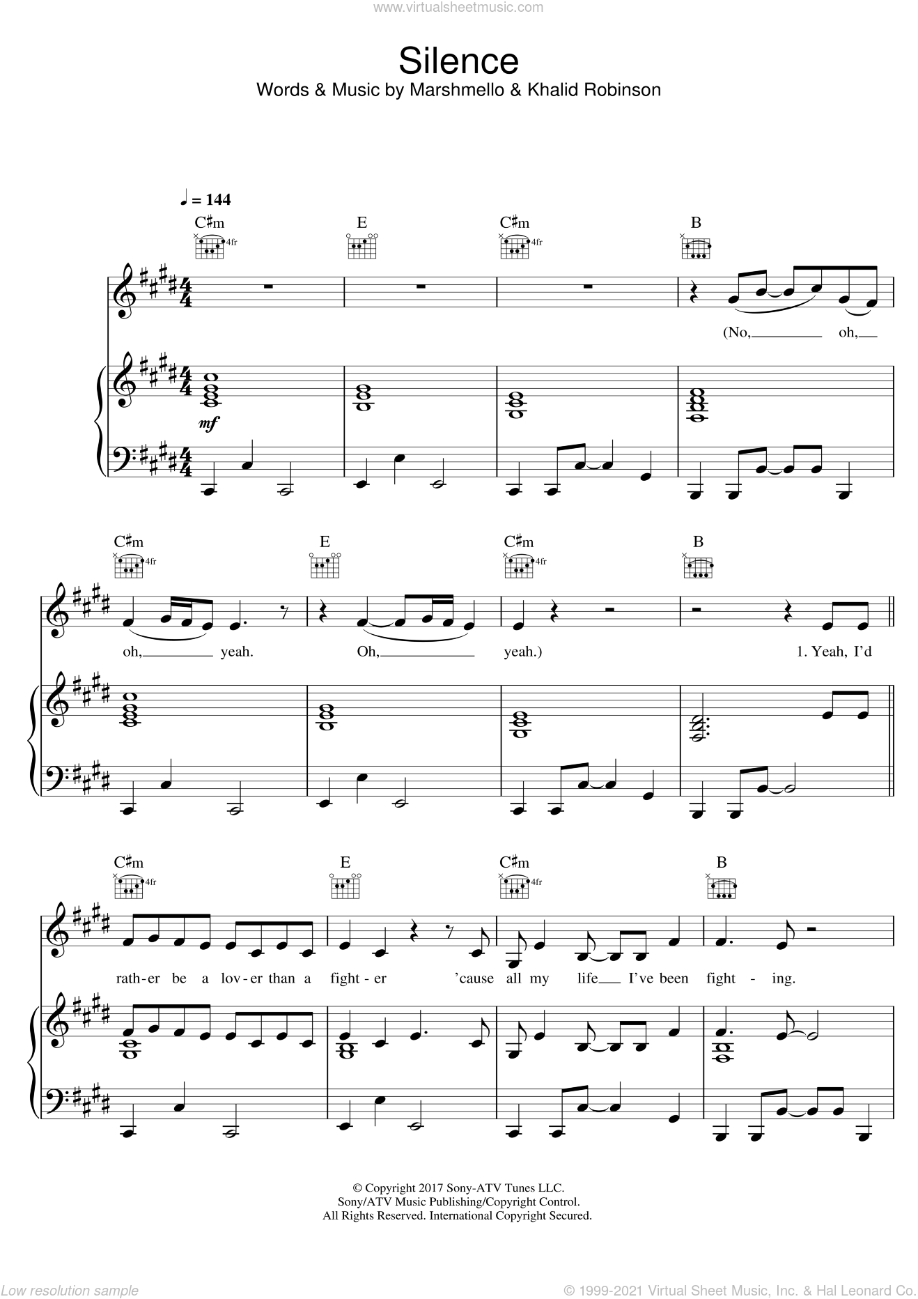 Silence (featuring Khalid) sheet music for voice, piano or guitar by Marshmello, Khalid and Khalid Robinson, intermediate skill level