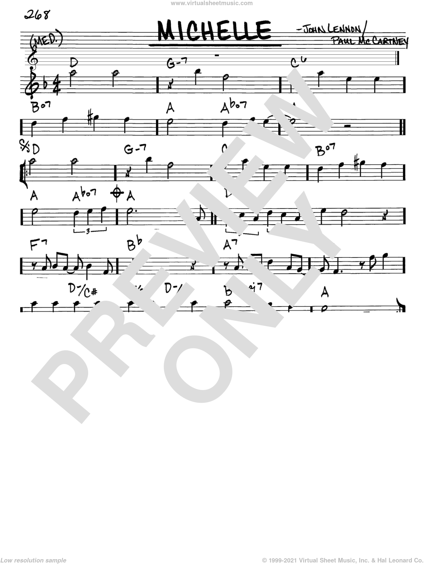 Michelle sheet music for voice and other instruments (Eb) by Paul McCartney