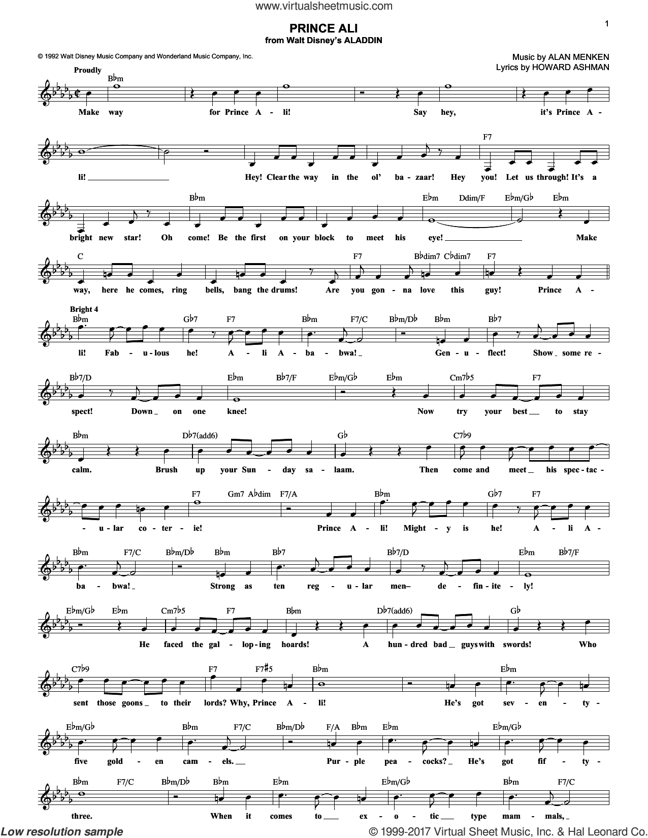 Prince Ali (from Aladdin) sheet music for voice and other instruments (fake book) by Alan Menken and Howard Ashman, intermediate skill level