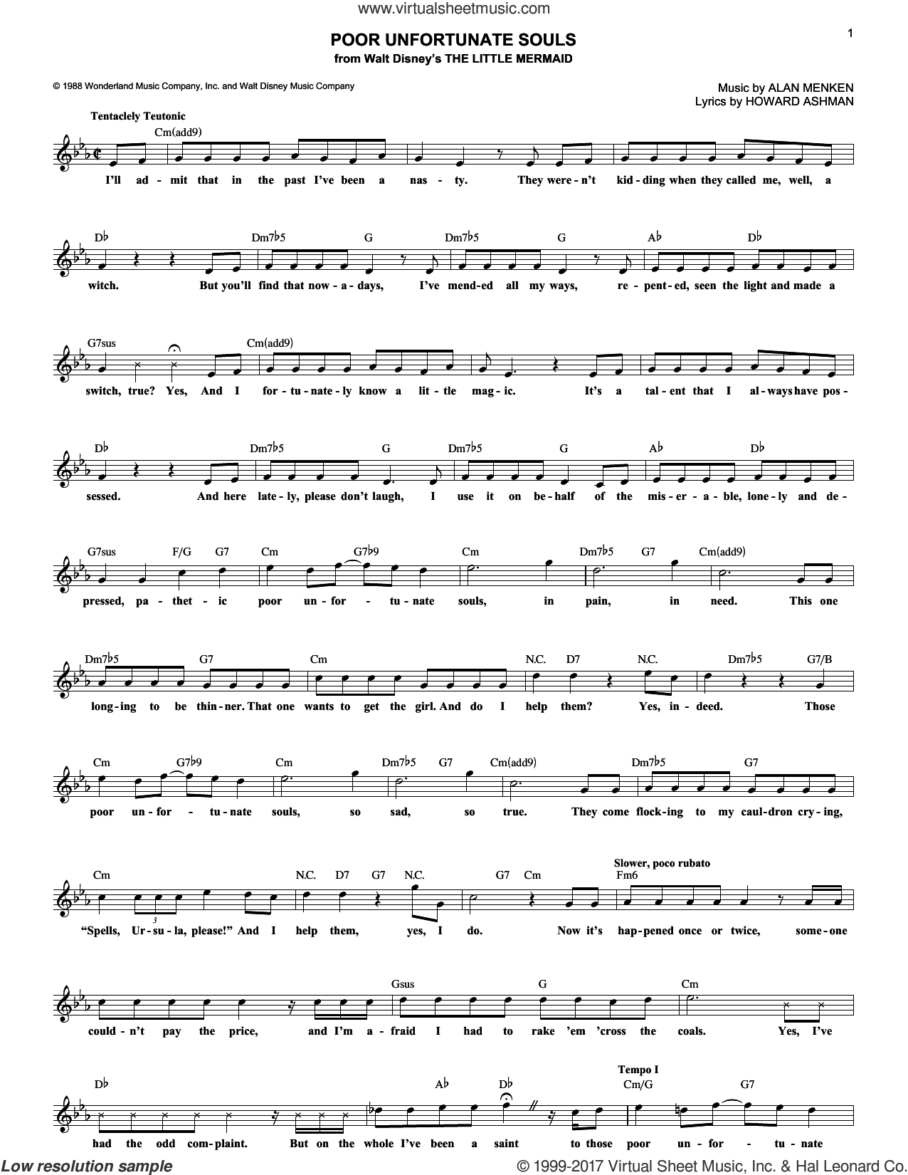 Poor Unfortunate Souls (from The Little Mermaid) sheet music for voice and other instruments (fake book) by Alan Menken and Howard Ashman, intermediate skill level