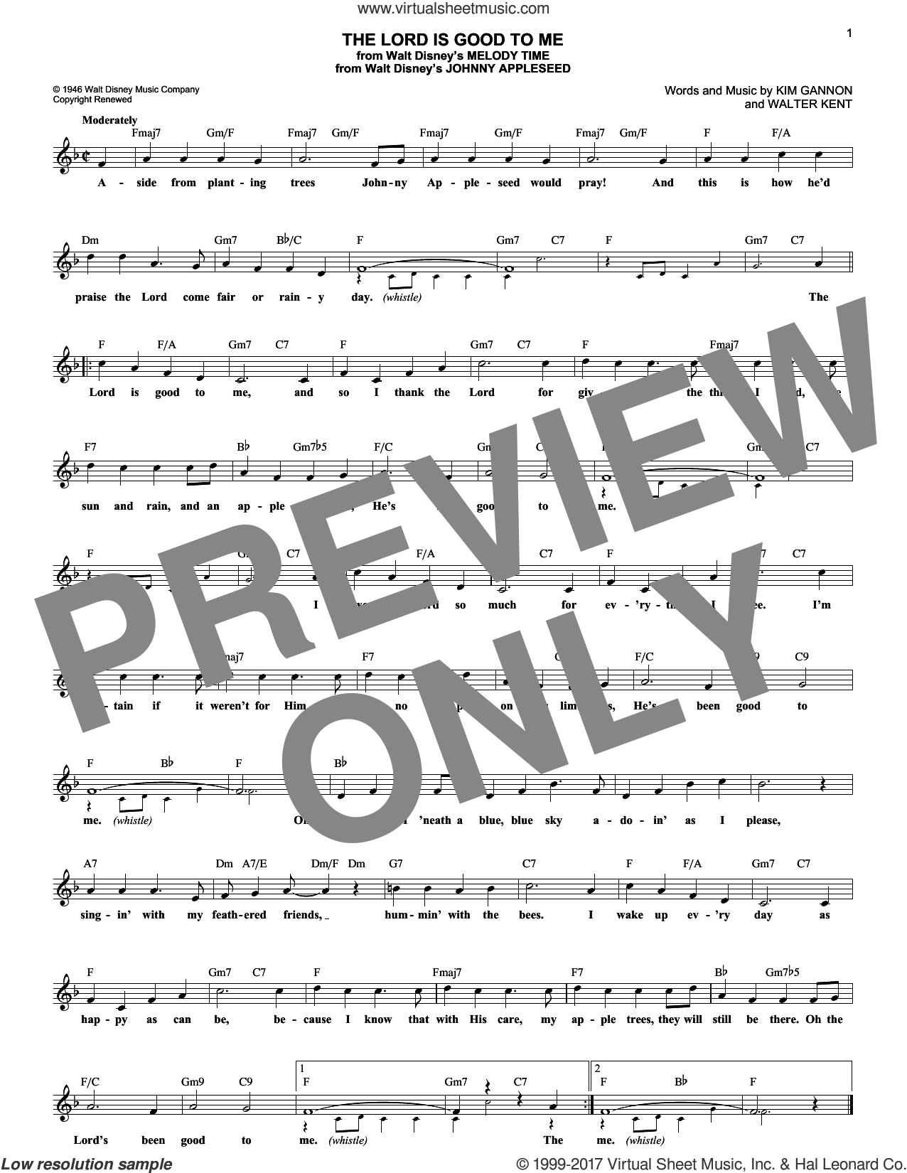 The Lord Is Good To Me sheet music for voice and other instruments (fake book) by Kim Gannon and Walter Kent, intermediate skill level
