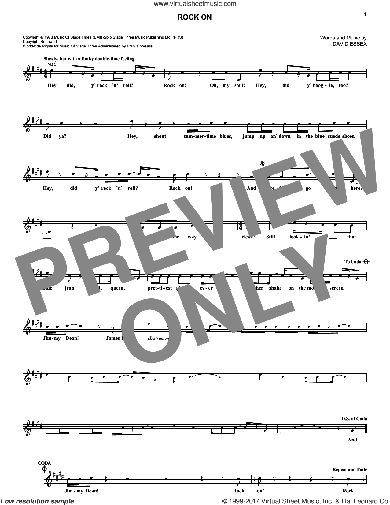 Rock On sheet music for voice and other instruments (fake book) by David Essex and Michael Damian, intermediate. Score Image Preview.