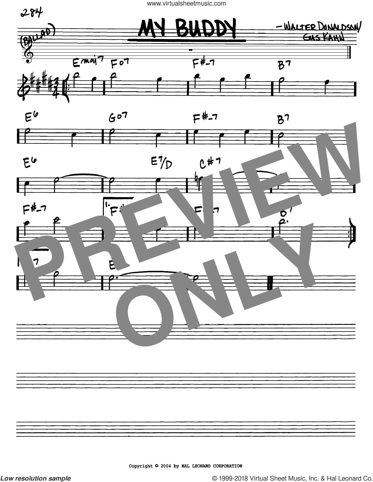 My Buddy sheet music for voice and other instruments (Eb) by Walter Donaldson