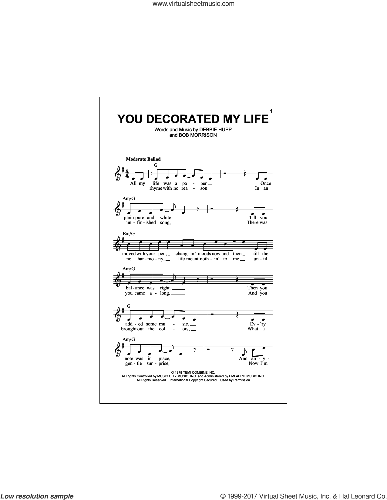 Rogers You Decorated My Life Sheet Music Fake Book Pdf