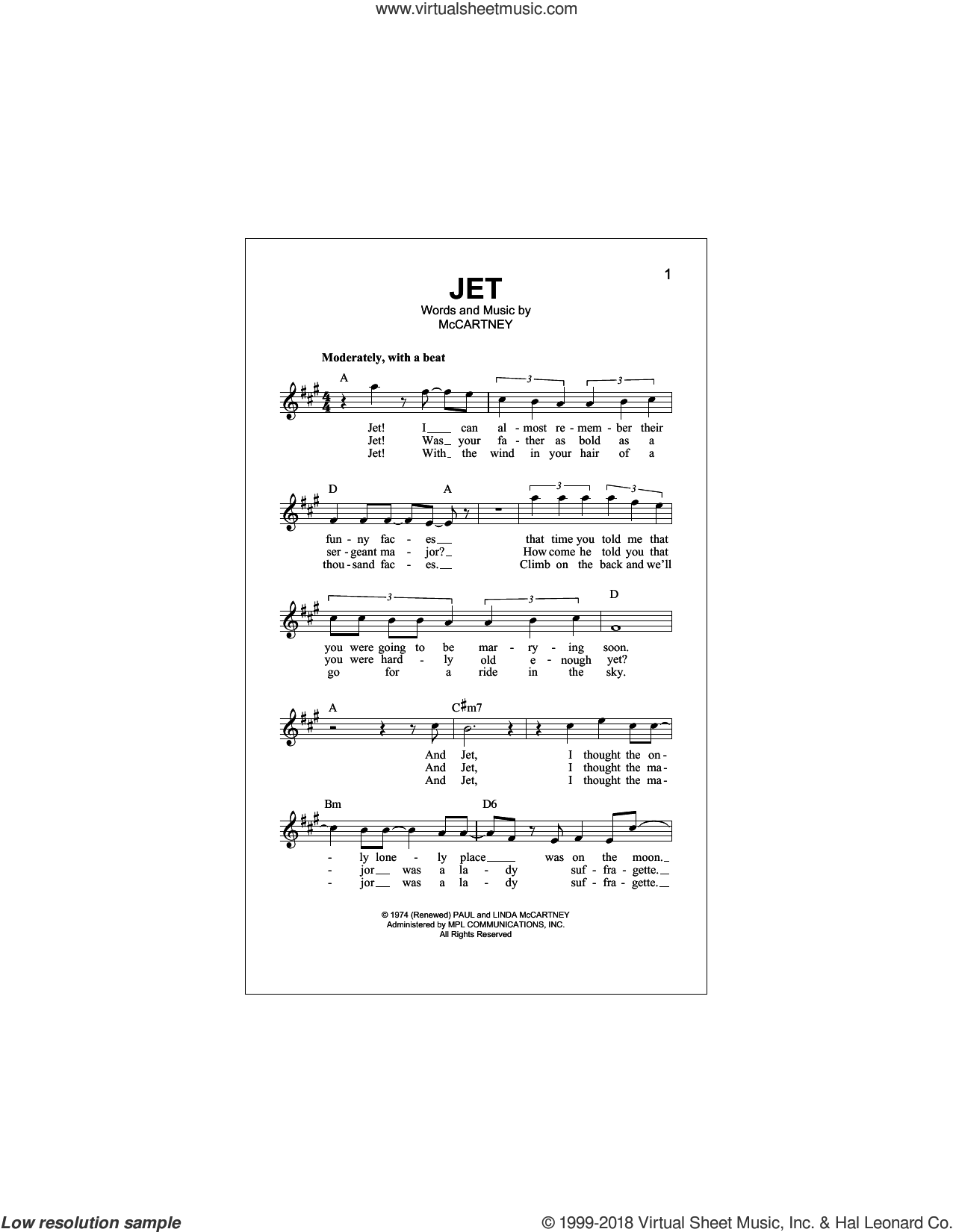 Jet sheet music for voice and other instruments (fake book) by Paul McCartney and Linda McCartney, intermediate skill level